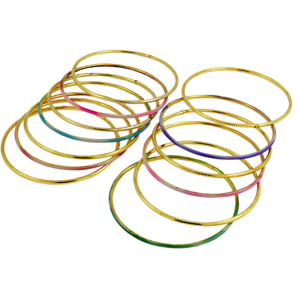 Zivom Trendy 22K Gold Plated Multi Colour Slim Bangle Set Of 13 For Women