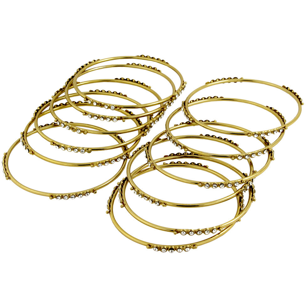 Zivom Wedding Bridal 22K Antique Gold Plated American Diamond Slim Bangle Set Of 12 For Women