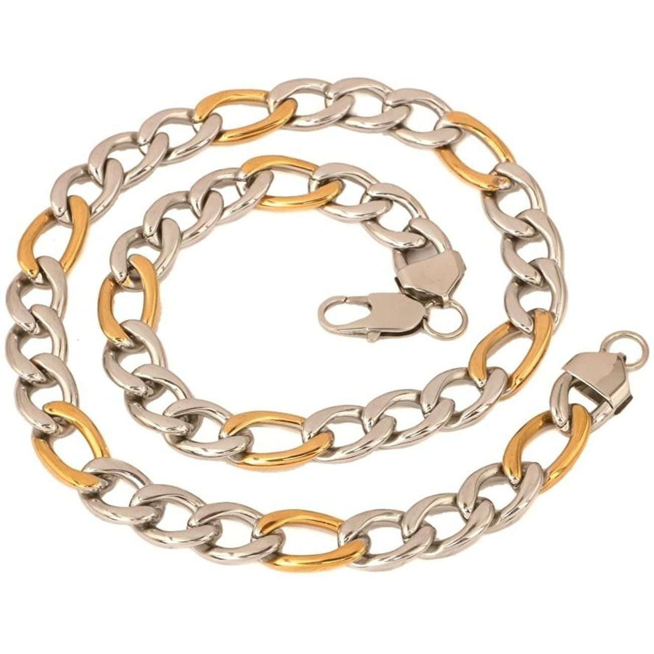 Zivom Mens Stainless Steel Rhodium Gold Solid Figaro Curb Chain 23.5