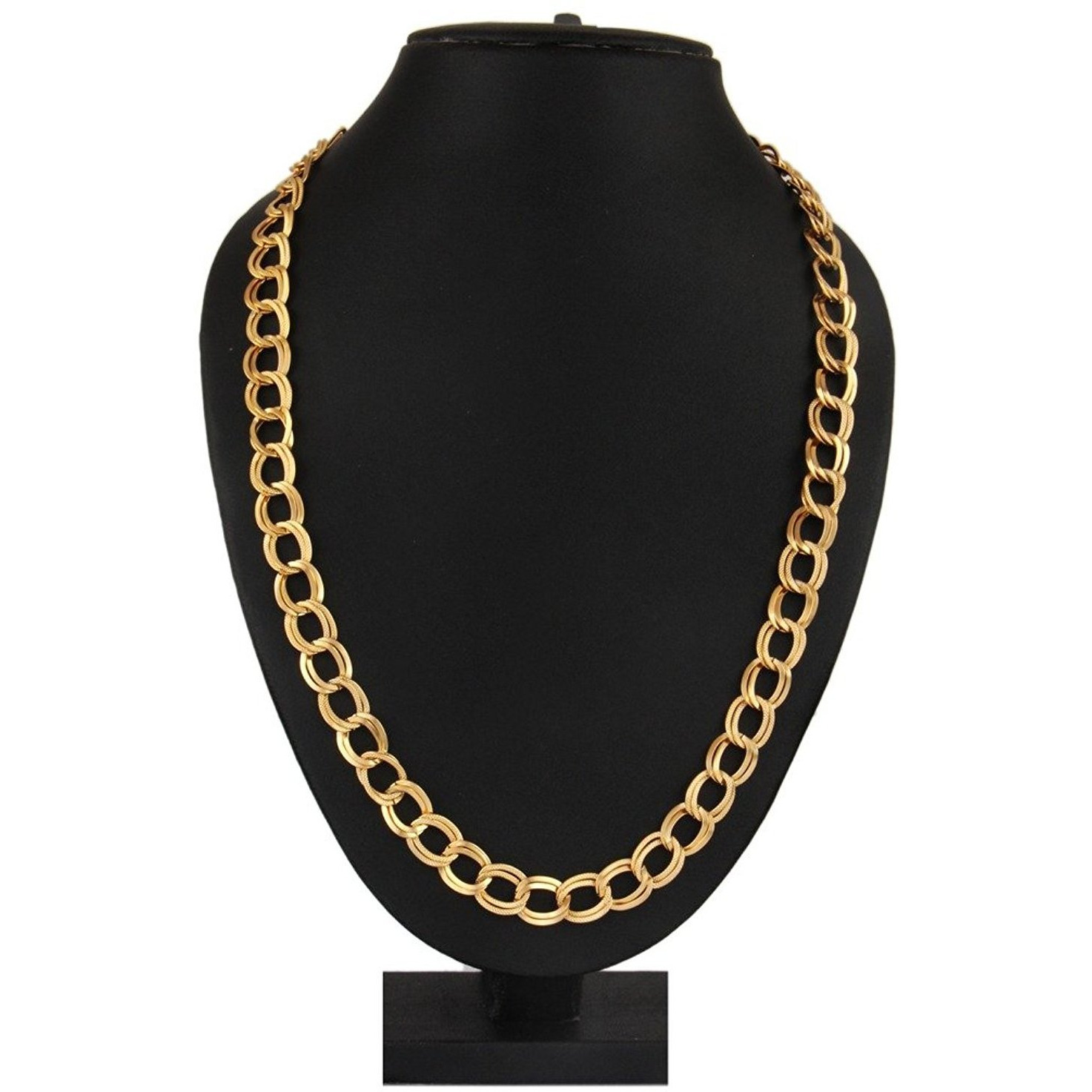 Zivom 22K Gold Plated Italian Broad Multi Links 20   Chain For Men