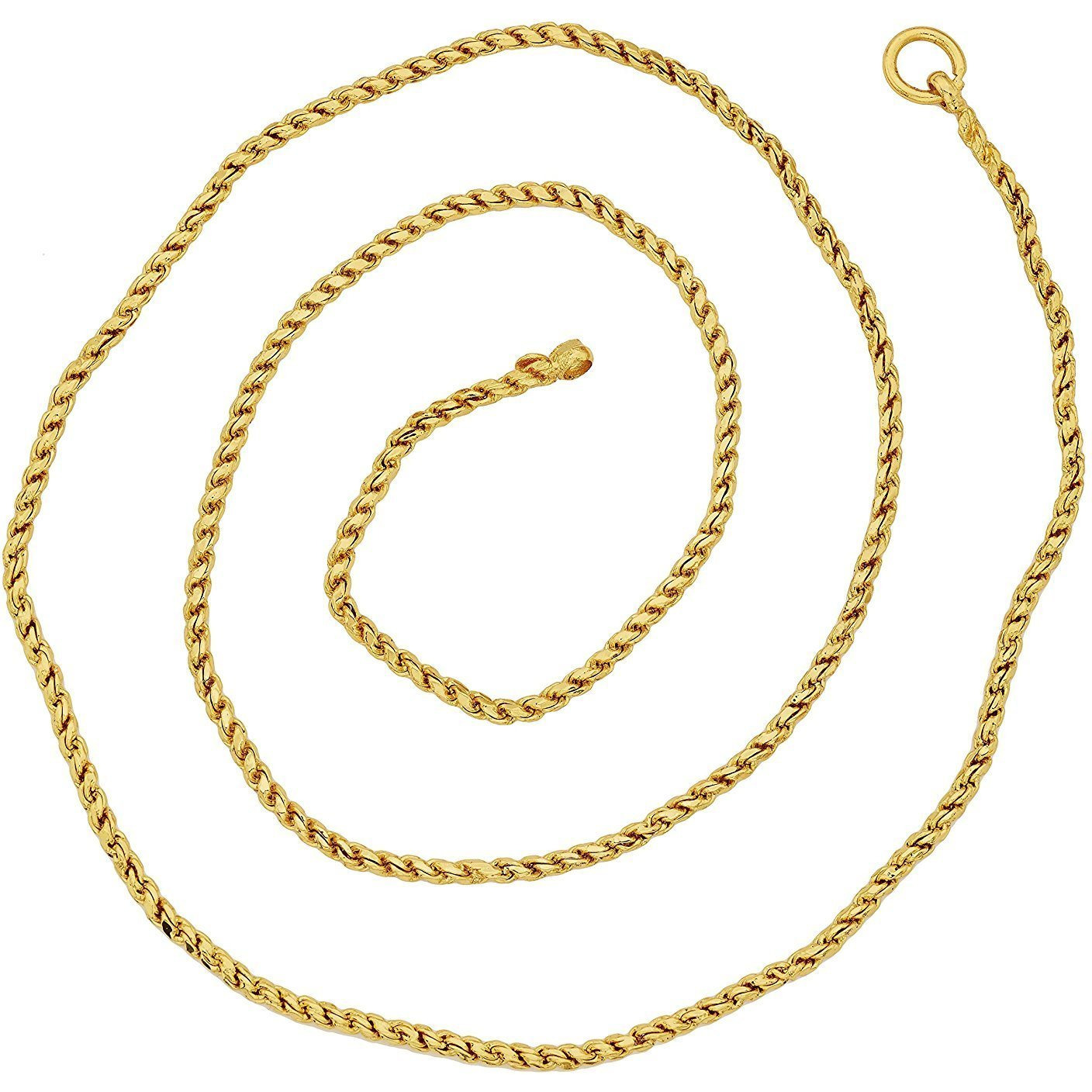 Zivom Solid Rope 22K Gold Plated 23.5 In Chain For Unisex