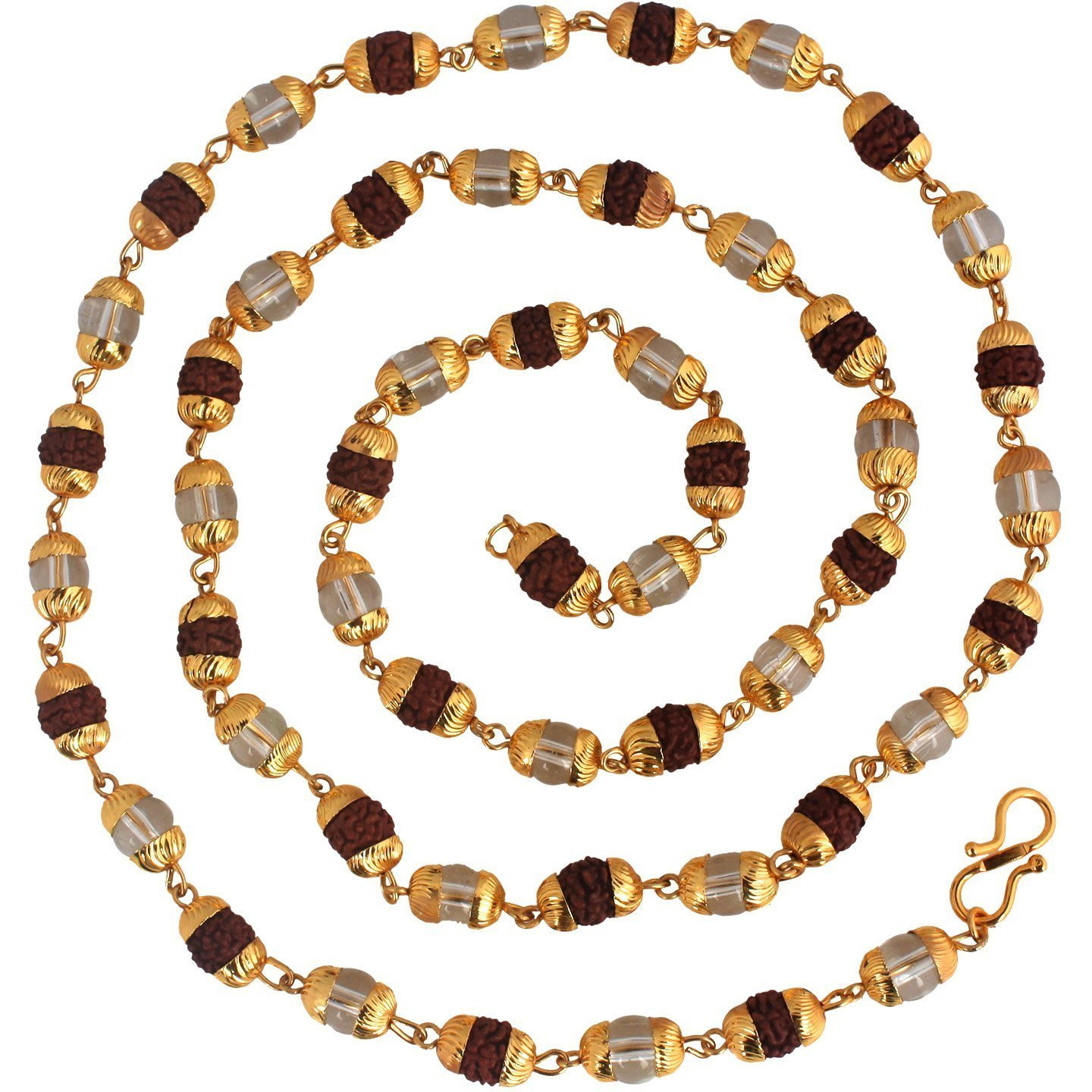 Zivom Rudraksh Spatik Gold Plated Mala Chain