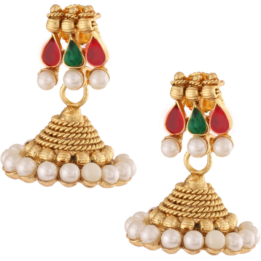 Zivom Traditional Temple Gold Plated Red Green Pearl Necklace Earring Set