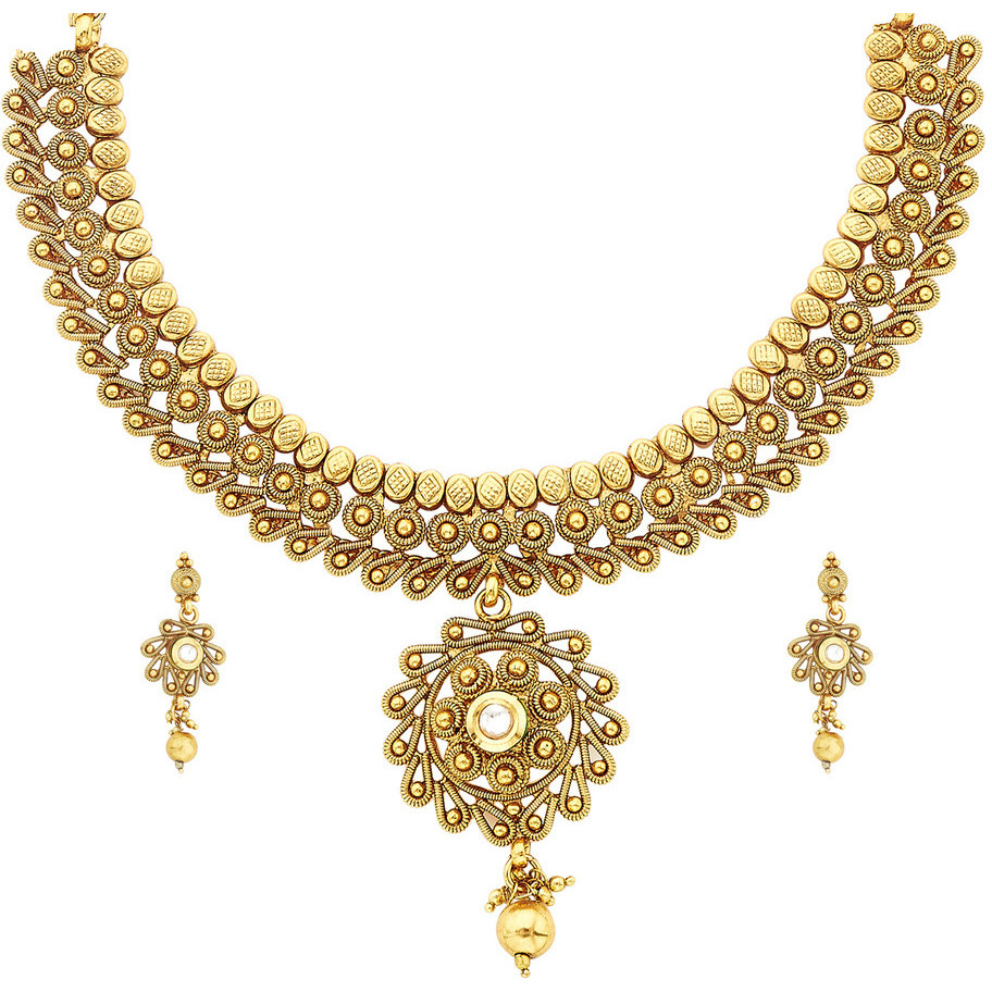 Zivom Temple Filigree Gold Plated Choker Necklace Earring Set For Women