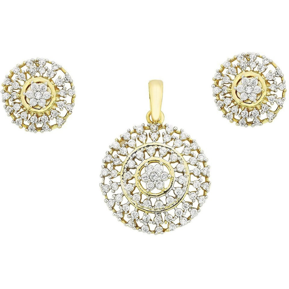 Zivom Nakshatra Flower Gold Plated Pendant Earring Set For Women