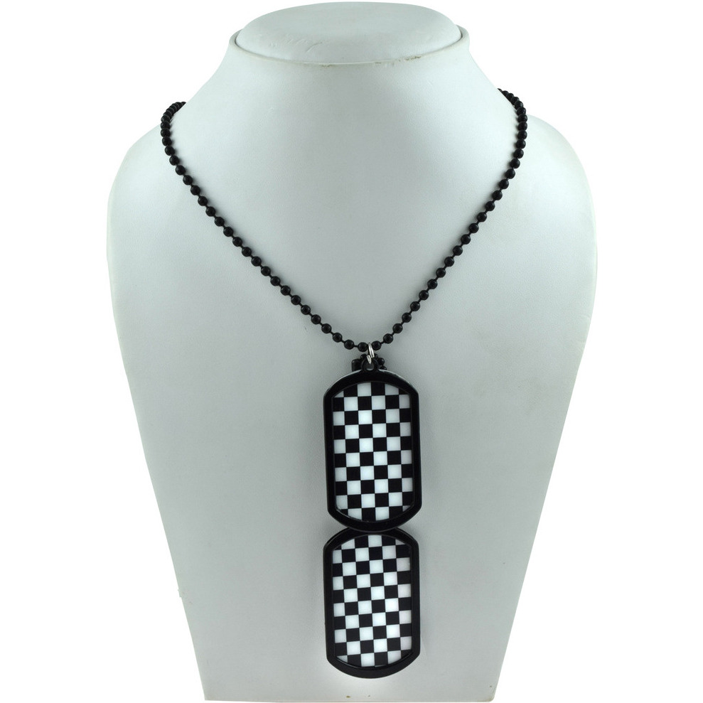 Zivom Checkered Flag Formula One Dog Tag Pendant Chain Necklace For Men