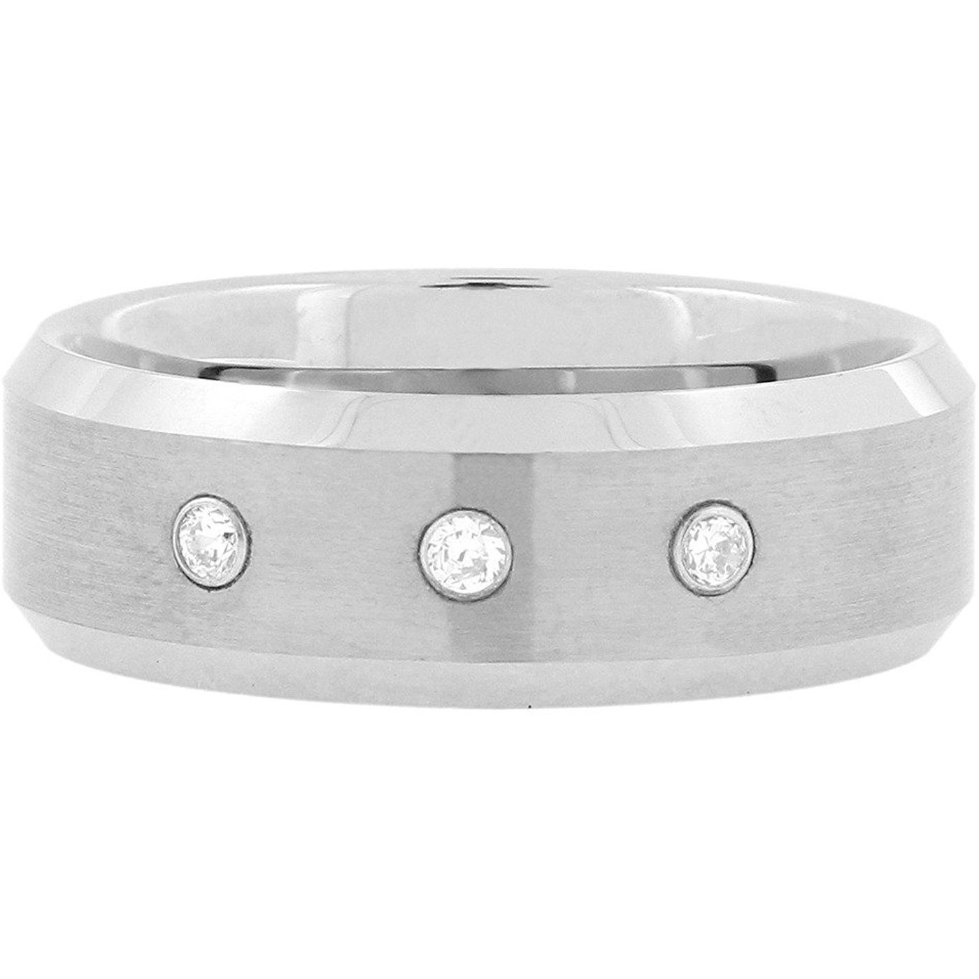 Zivom American Diamonds In Tungsten Wedding Engagement Band Ring