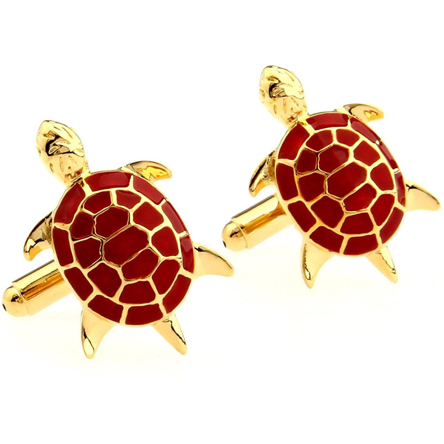 Zivom Red Turtle Tortoise Fengshui Good Luck Formal Shirt Brass Cufflinks Pair for Men Gift Box