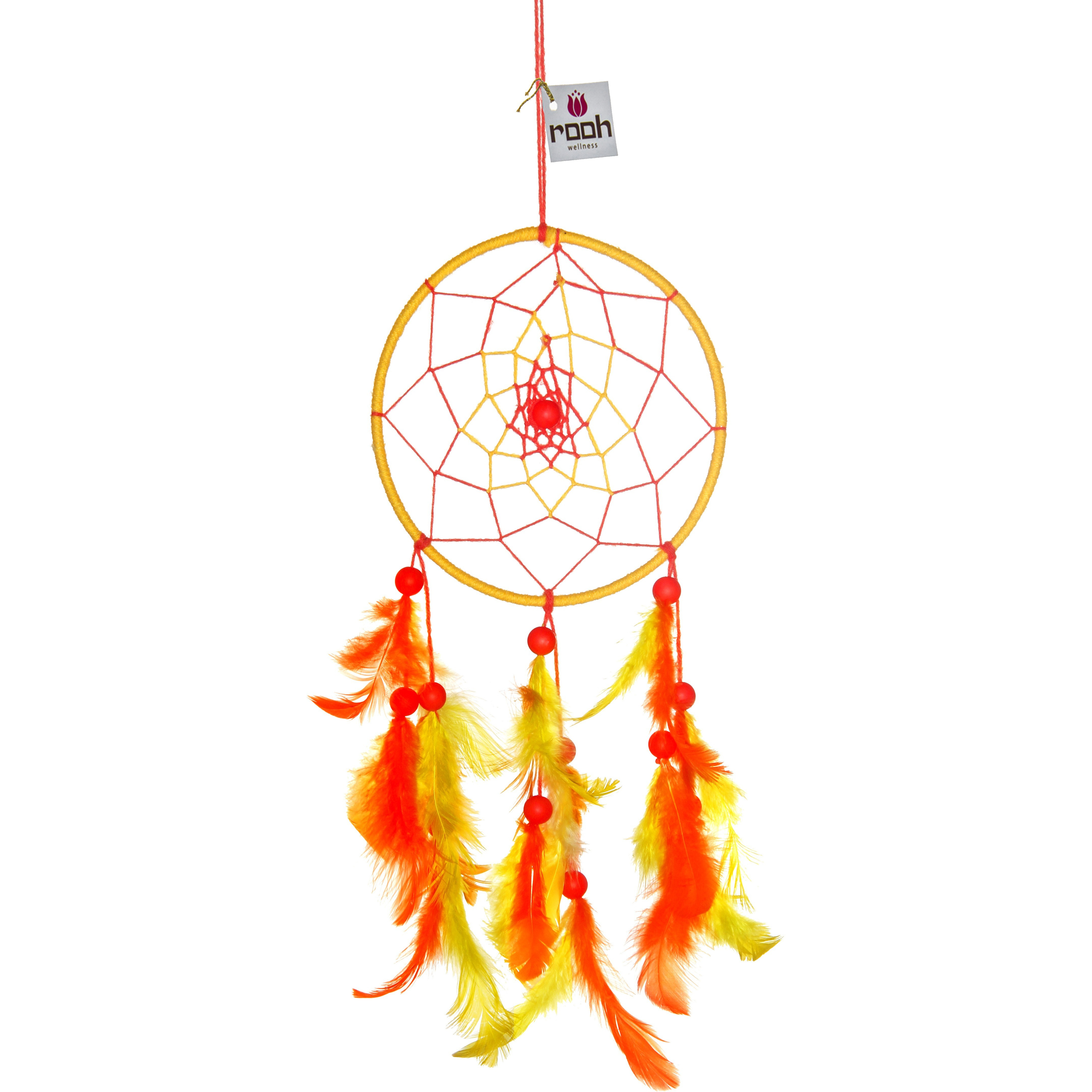 Wall Hanging Handmade Feathers Decoration Dream Catcher Yellow  Medium