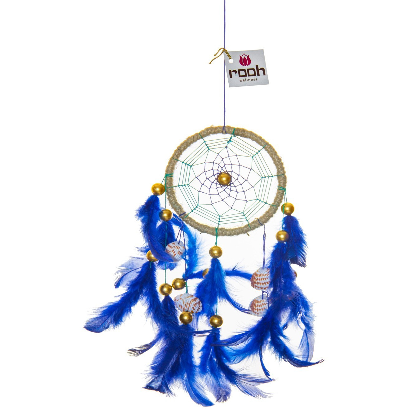 Royal Blue Sea Shell Dreamcatcher Wall Hanging Handmade Feathers Decoration
