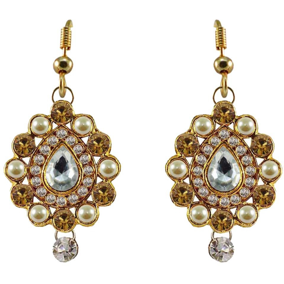 Multi Stone Stud-Gold Platted Brass Earring Ethnic Stud Fashion Jewelry