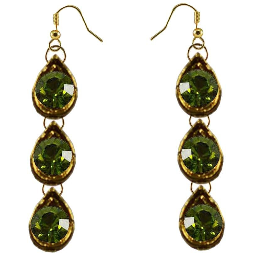 Green Stone Stud-Gold Platted Brass Earring Ethnic Stud Fashion Jewelry