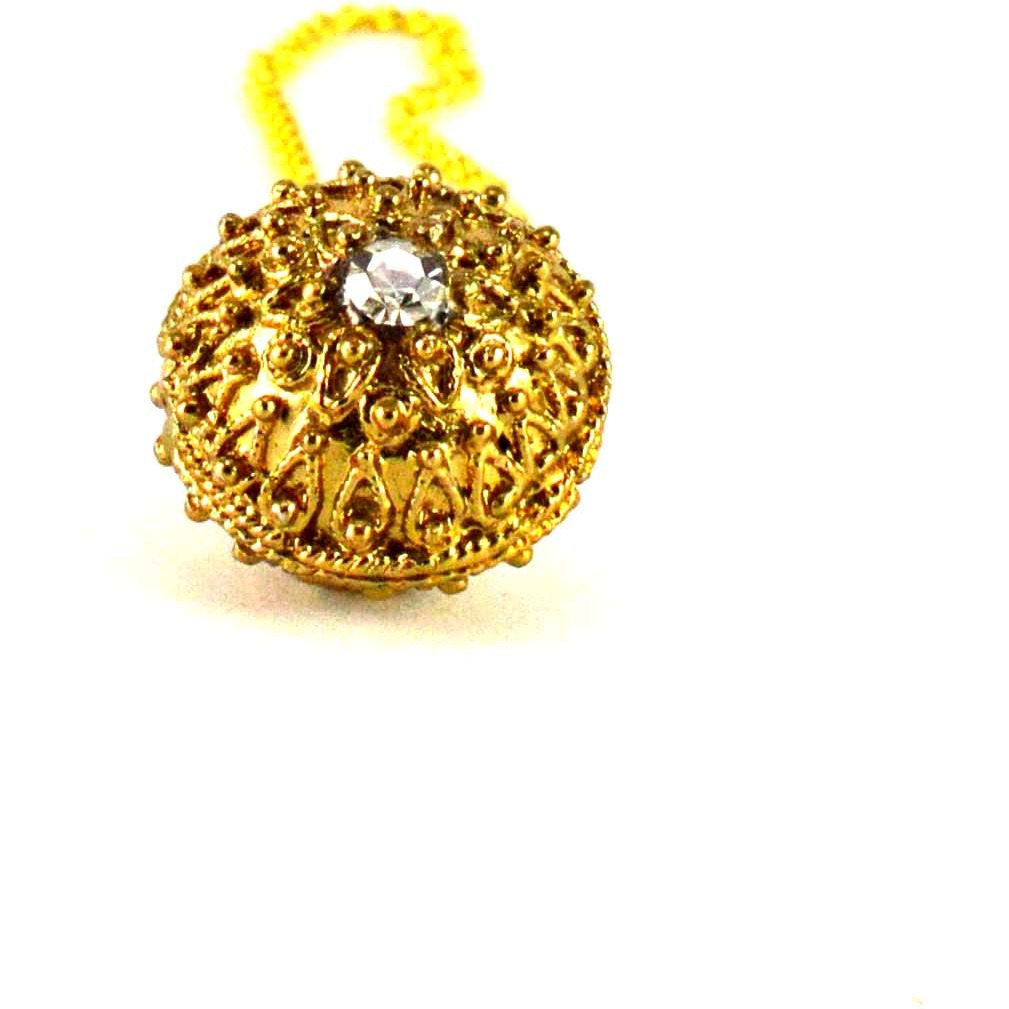 Golden Stone Studd-Gold Platted Brass Mang Tikka Borla Head Piece Bridal