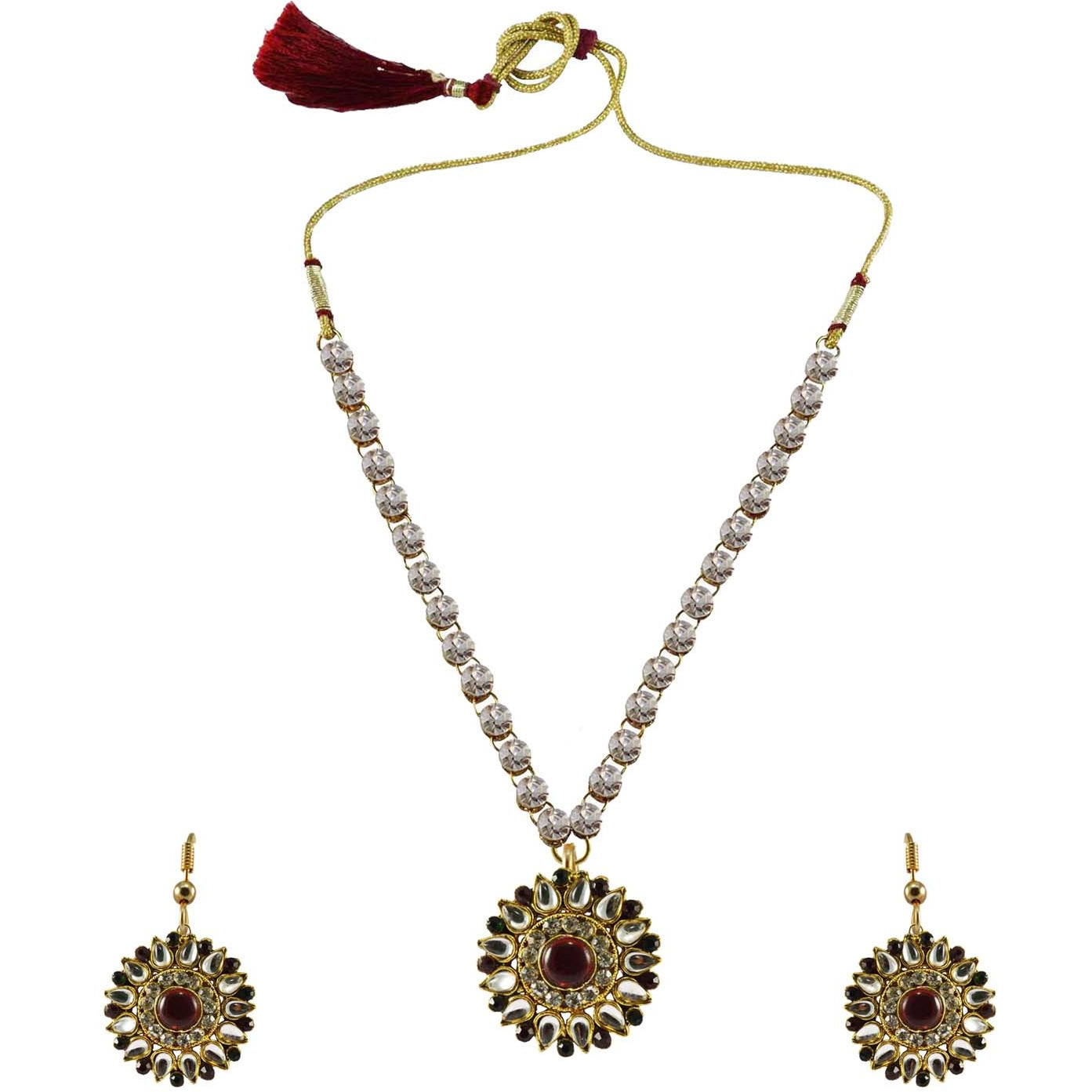 White Stone Stud-Gold Platted Brass Pendant Necklaces Ethnic Jewelry Set