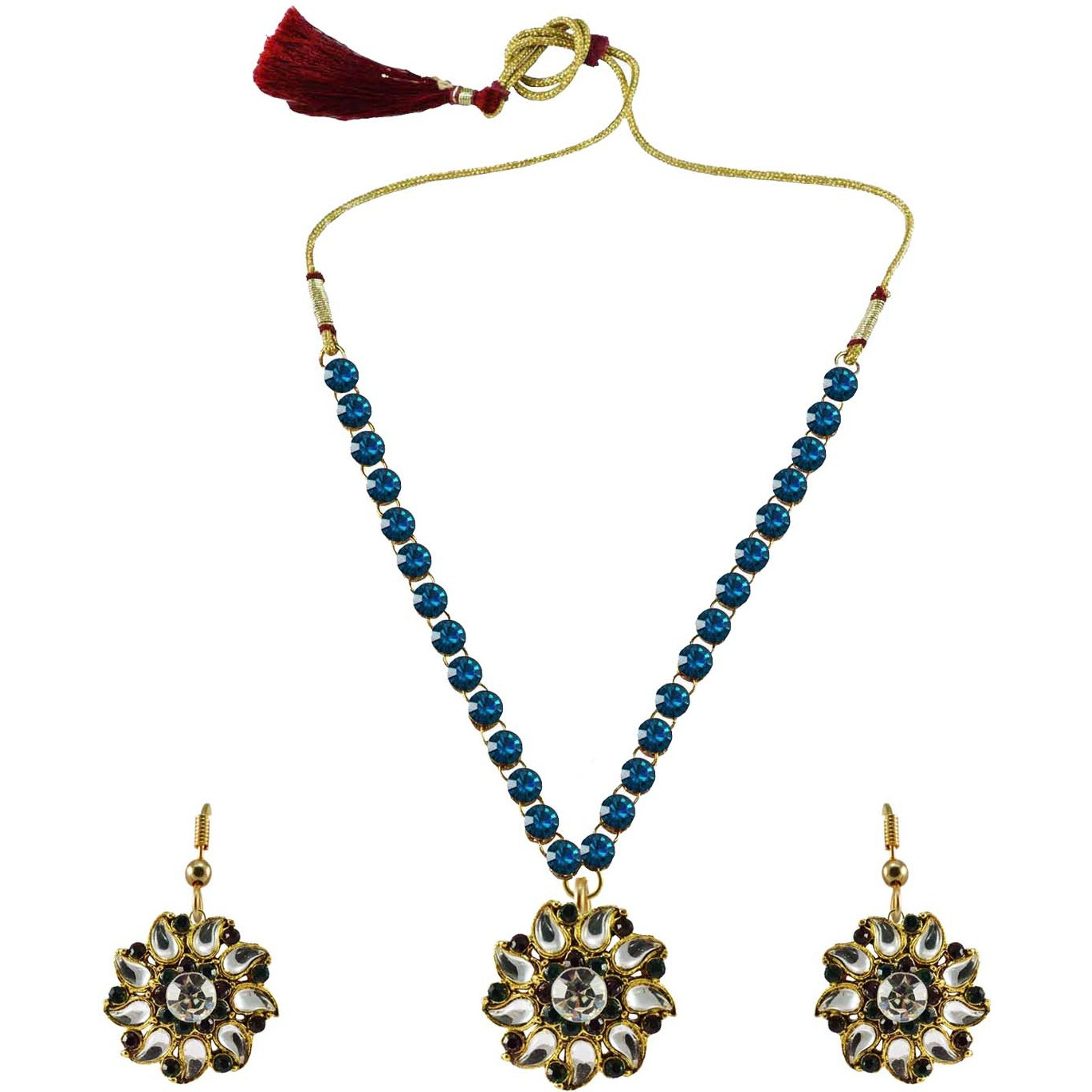 Multi Stone Stud-Gold Platted Brass Pendant Necklaces Ethnic Jewelry Set