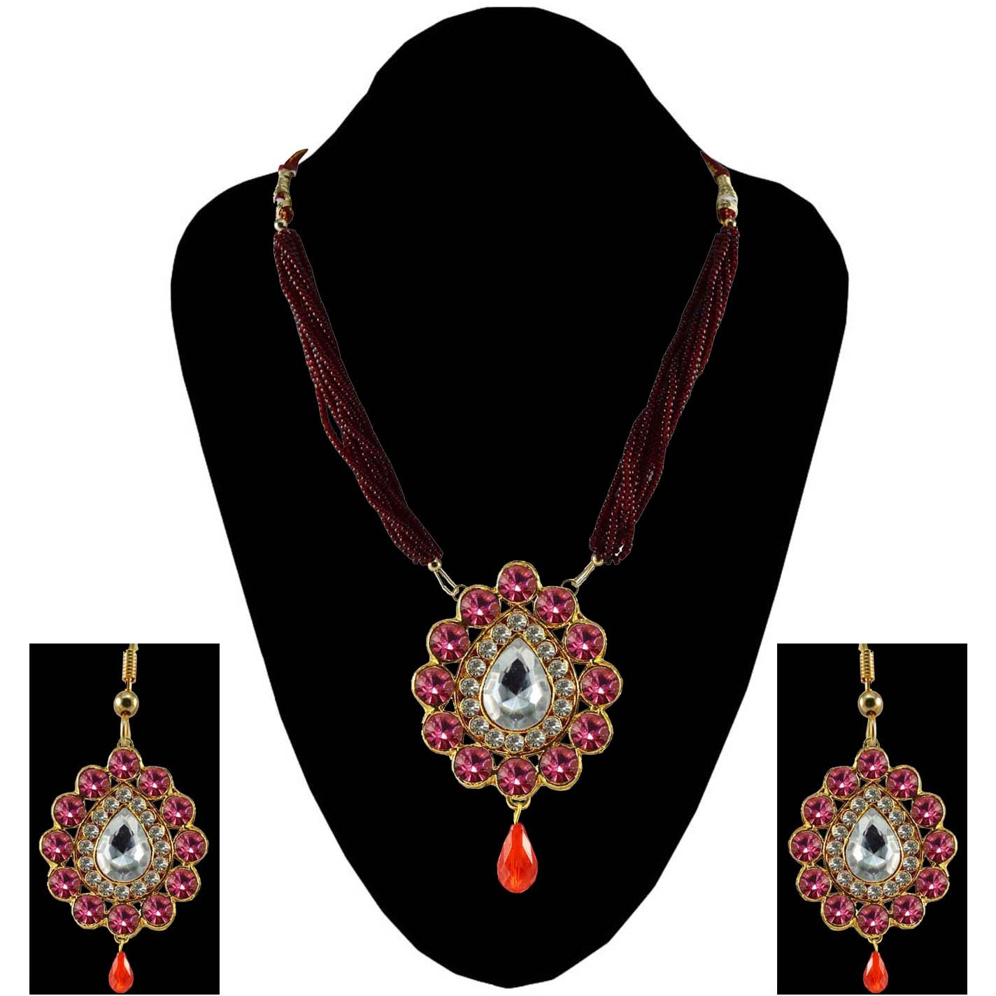 Pink Stone Stud-Gold Platted Brass Pendant Necklaces Ethnic Jewelry Set