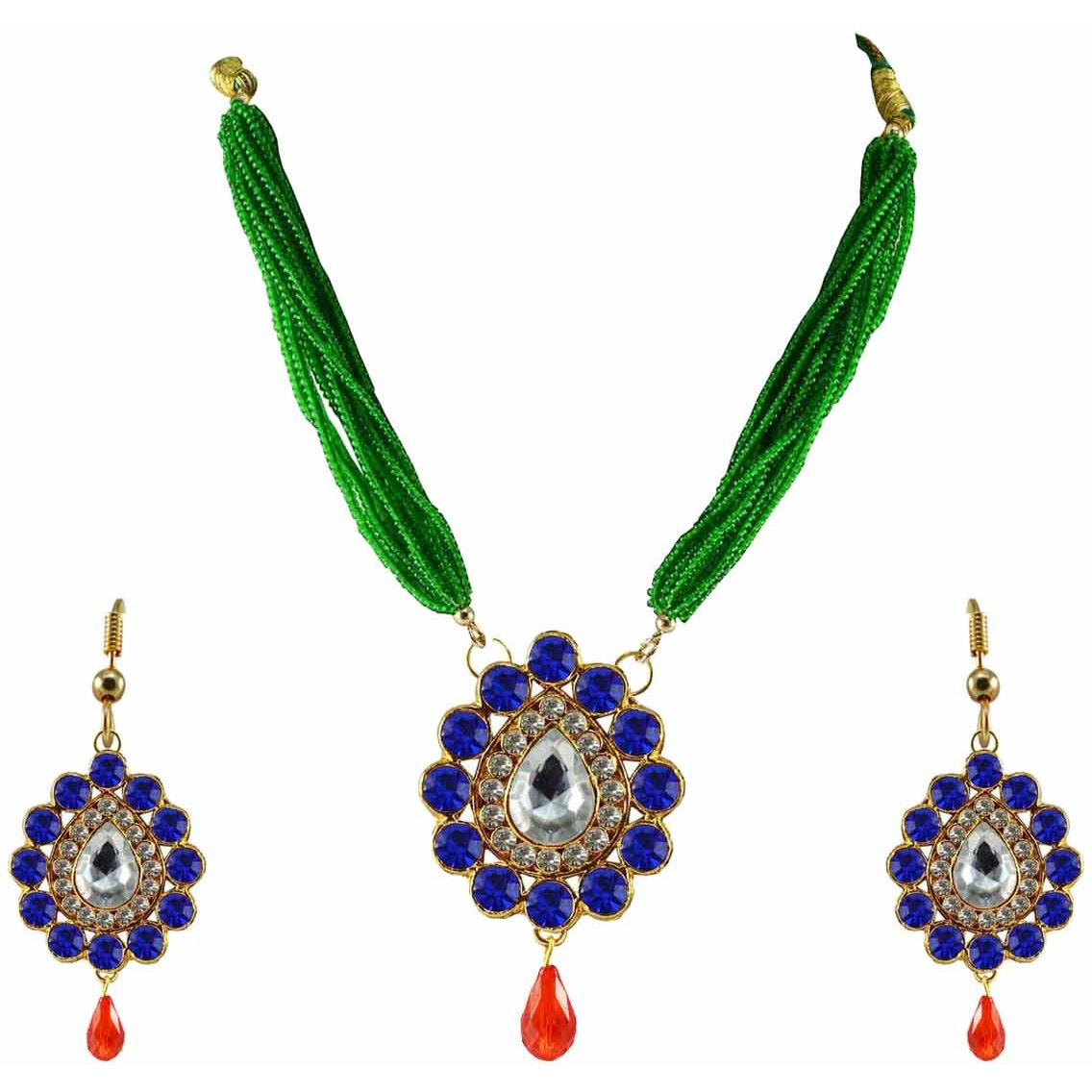 Blue Stone Stud-Gold Platted Brass Pendant Necklaces Ethnic Jewelry Set