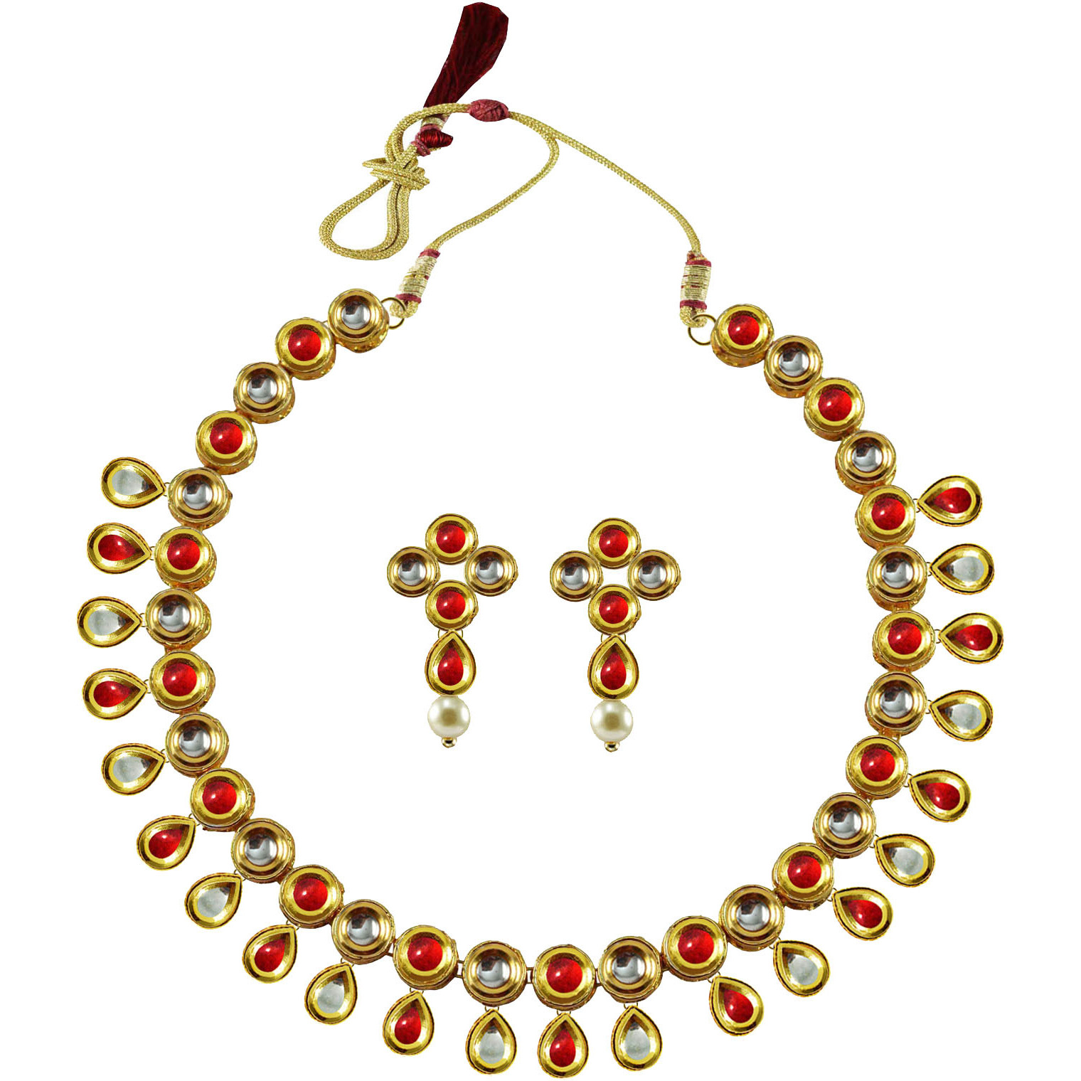 Golden Kundun Stud-Gold Platted Brass Necklaces Ethnic Jewelry  Set