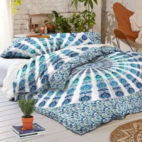 Indian Mandala Duvet Cover Throw Reversible Cotton Donna Quilt Cover Bedding Set