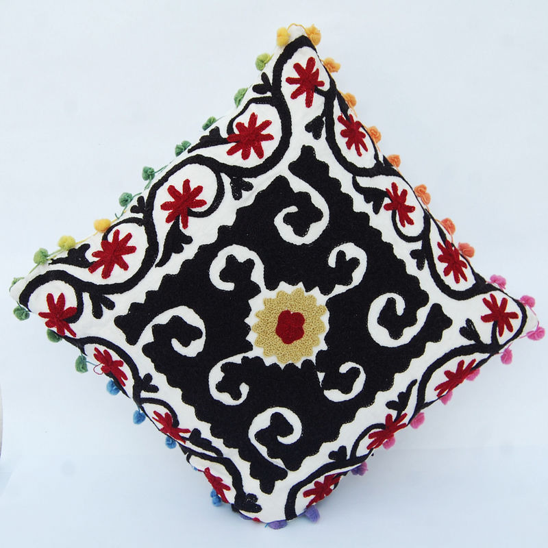 Suzani White Cushion Pillow Cover Ethnic Embroidered Throw Indiann Decorative MN1
