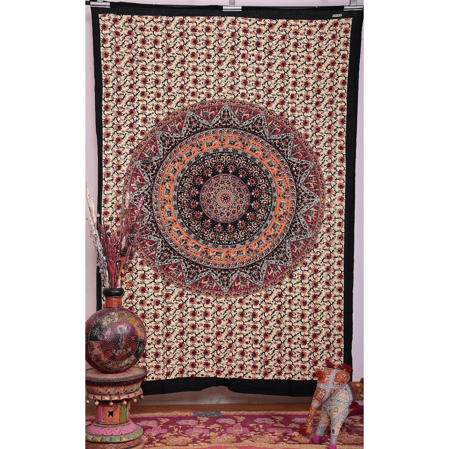 5 Pcs Wholesale Lot Indian Mandala Tapestry Hippie Wall Hanging Decor Bedspread