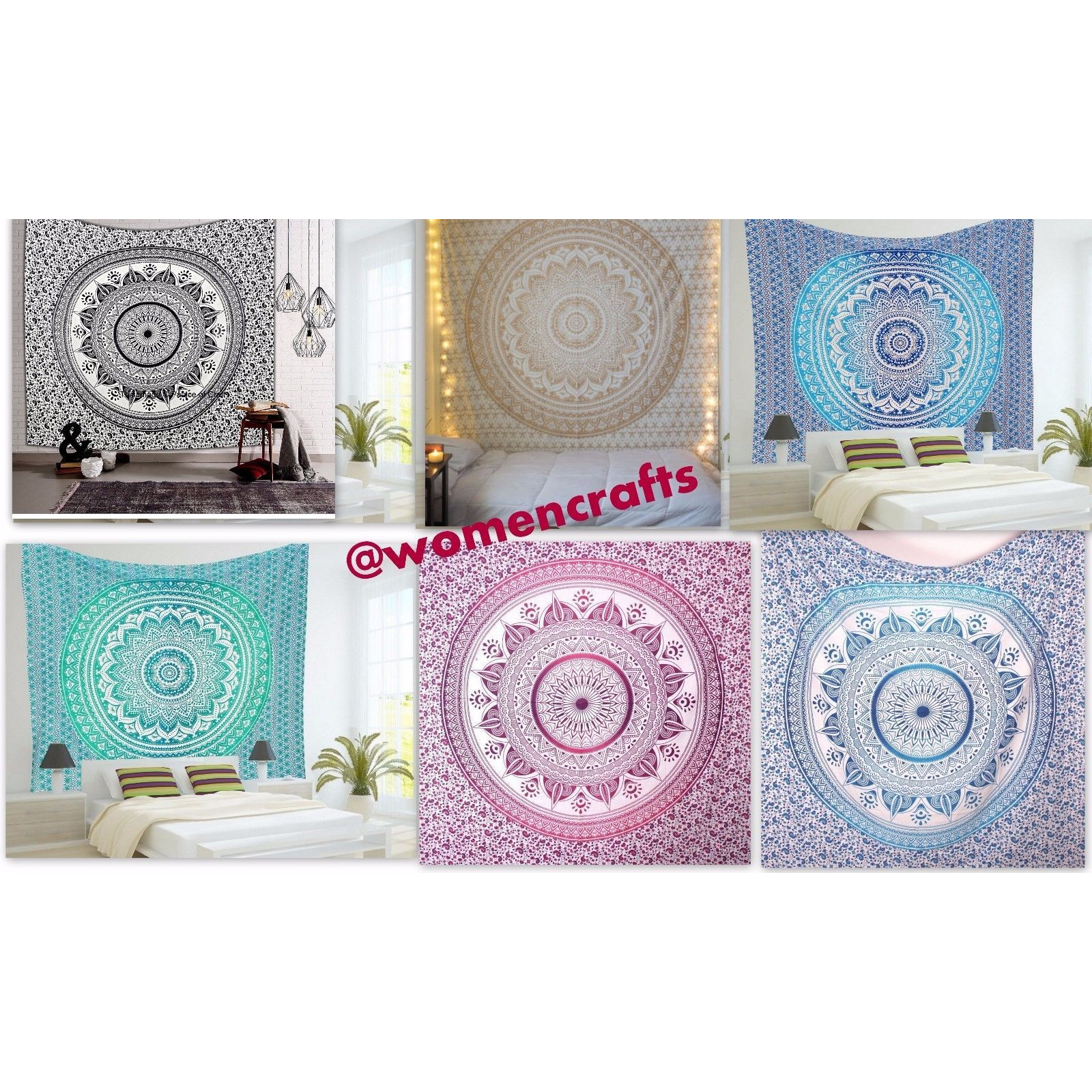 5 Pcs Wholesale Lot Indian Ombre Mandala Tapestry Wall Hanging Throw Bedspread