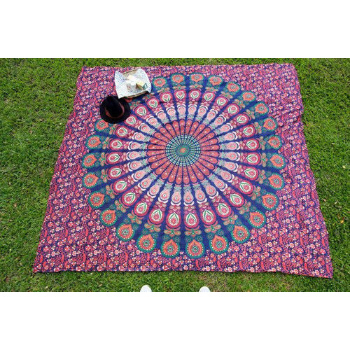 Blue Mandala Tapestry Queen Bohemian Bedspread Indian Hippie Wall Hanging Decor