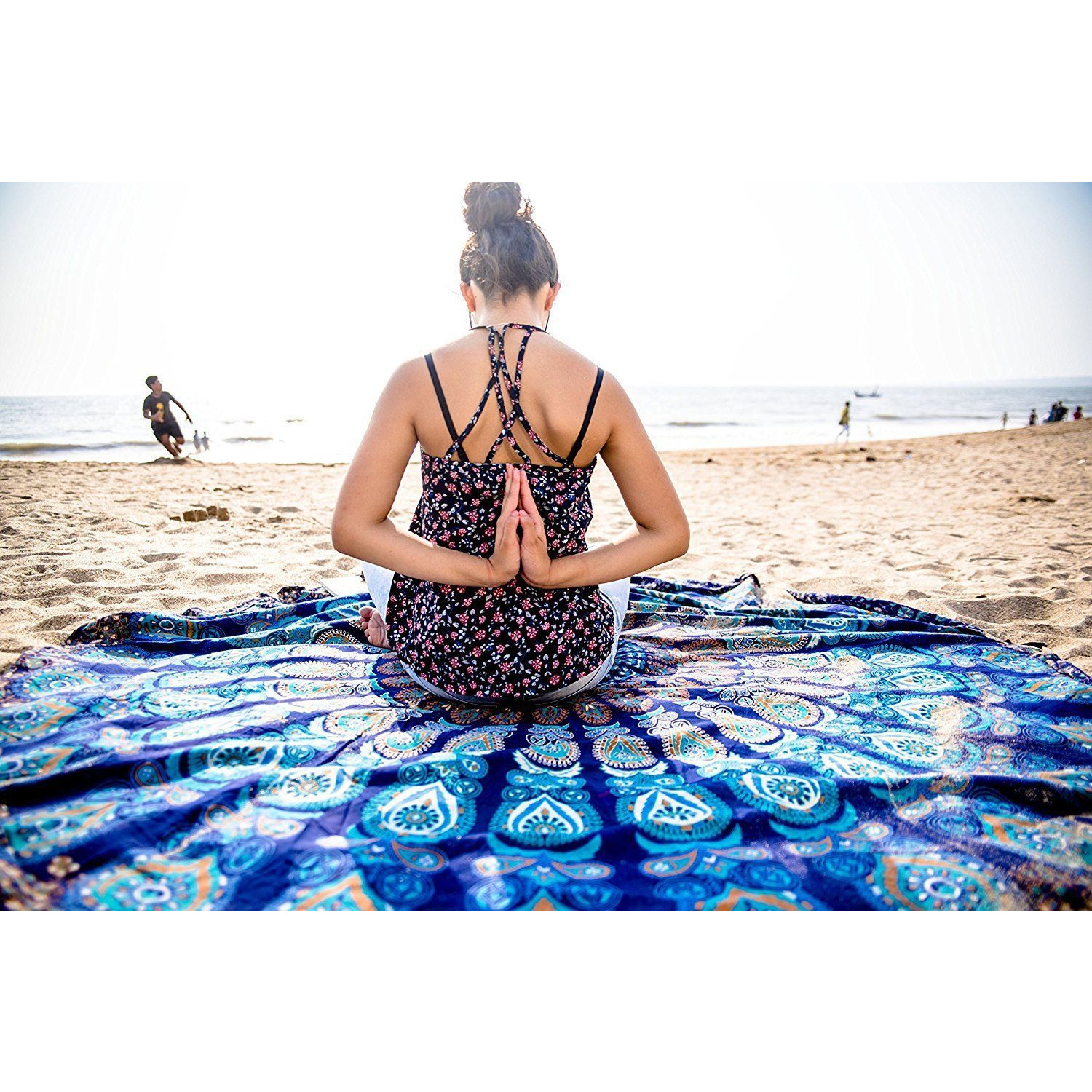 mandala ombre carpet itm throw indian round yoga rug tapestry mat beach blanket