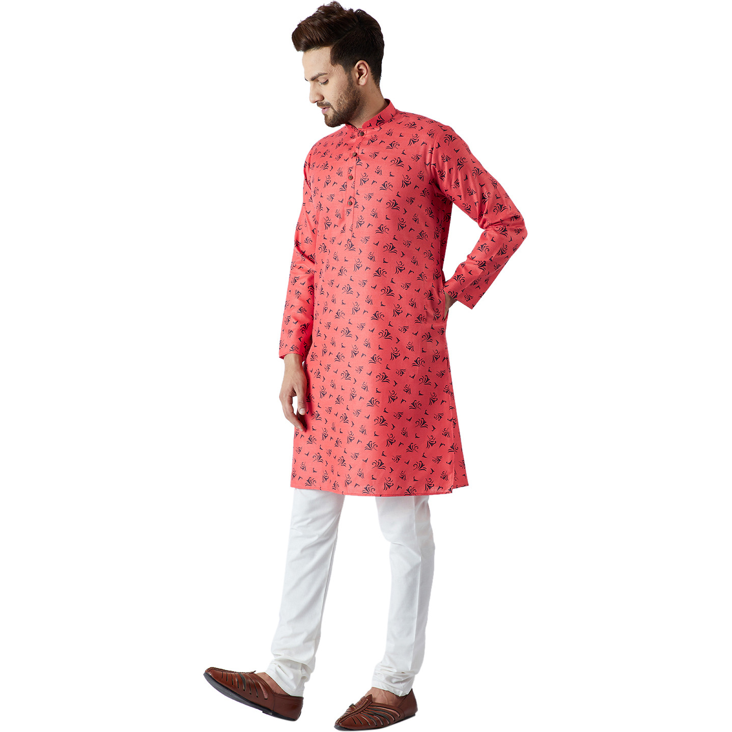 Sojanya (Since 1958), Men's Cotton Linen Kurta and Churidaar Pyjama SET (Color:RED AND OFF WHITE, Size:XL)