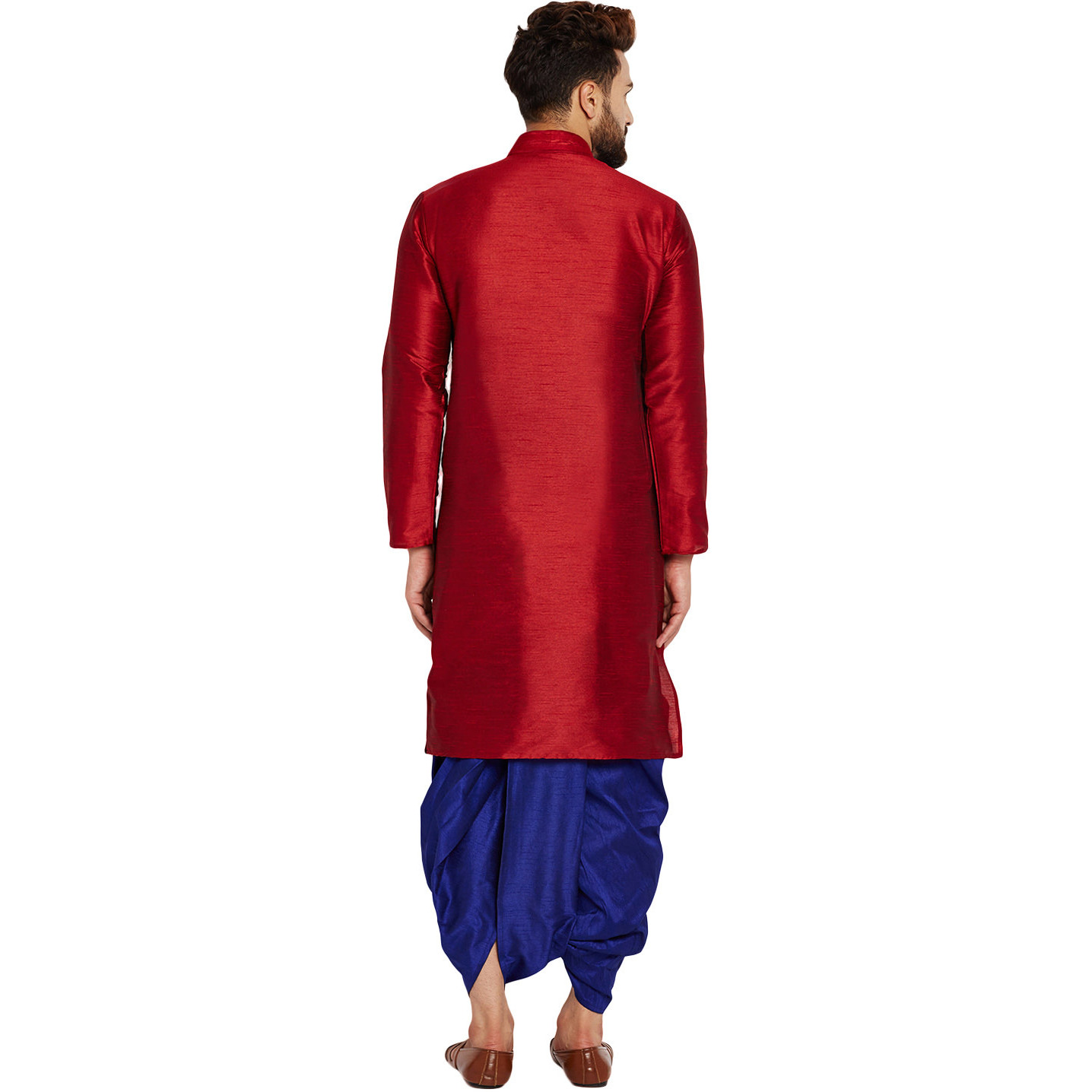 Sojanya (Since 1958)B Men's Traditional Ethnic Wear Dupion Silk Maroon and Royal BlueThread embroidery Dhoti Kurta Set Regular Fit