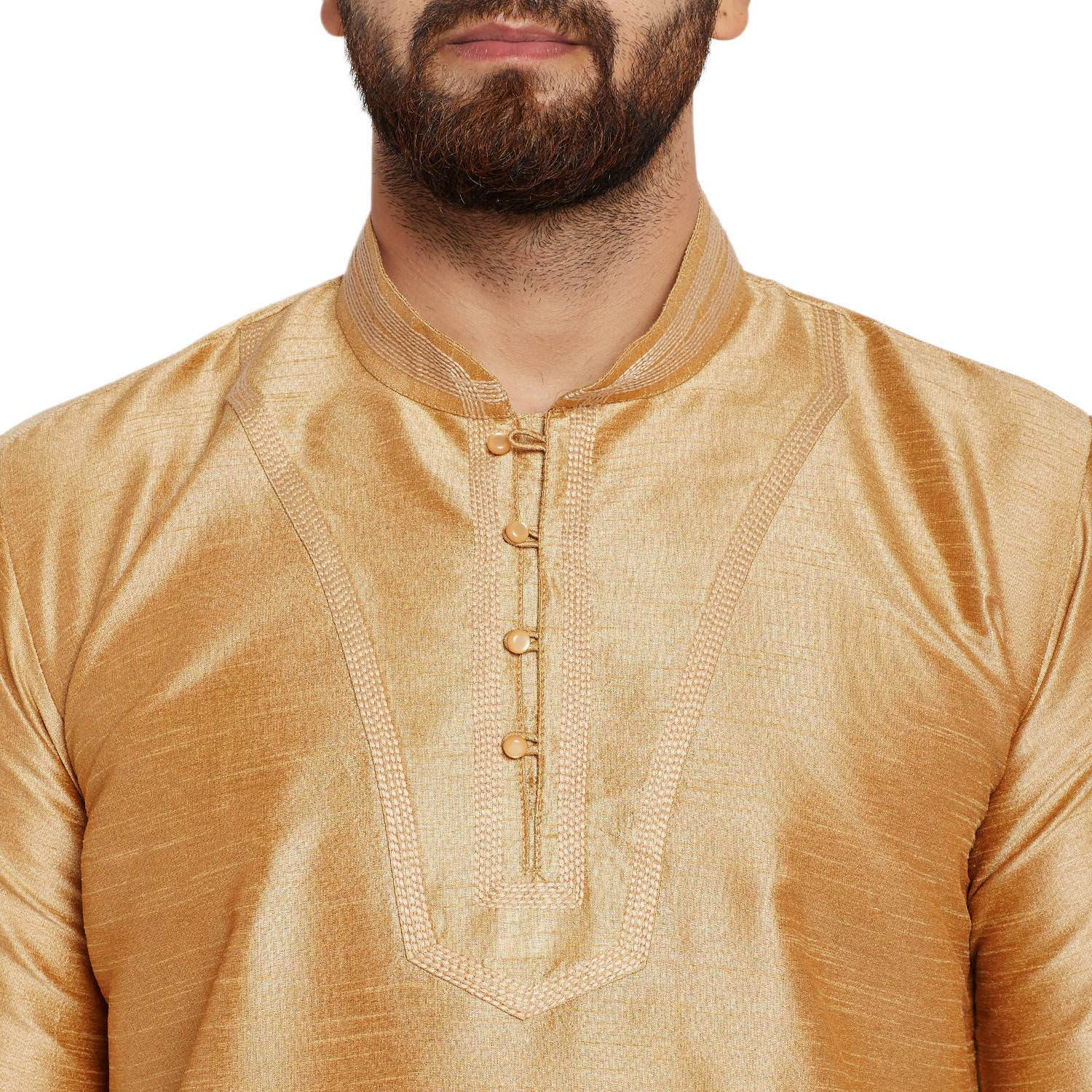 Sojanya (Since 1958)B Men's Traditional Ethnic Wear Dupion Silk Gold and MustardThread embroidery Dhoti Kurta Set Regular Fit