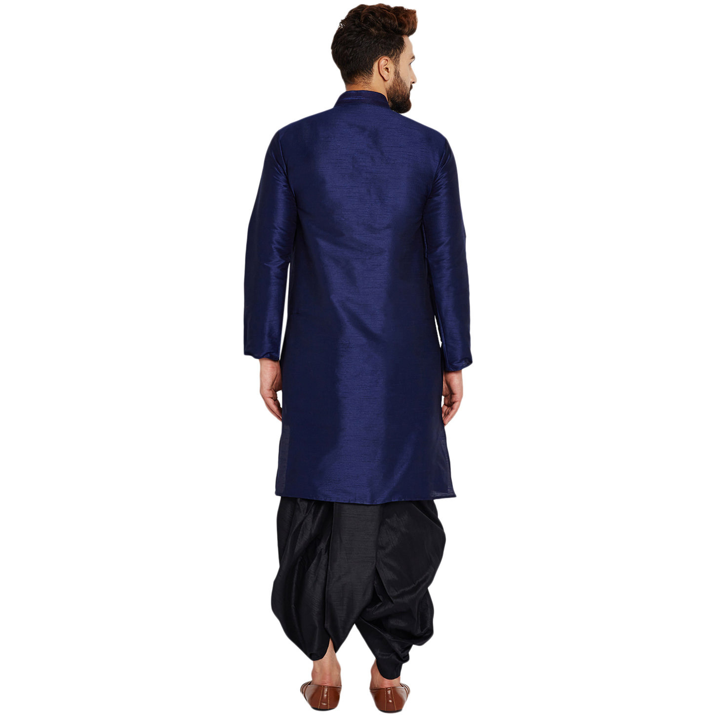 Sojanya (Since 1958)B Men's Traditional Ethnic Wear Dupion Silk Royal Blue and BlackThread embroidery Dhoti Kurta Set Regular Fit