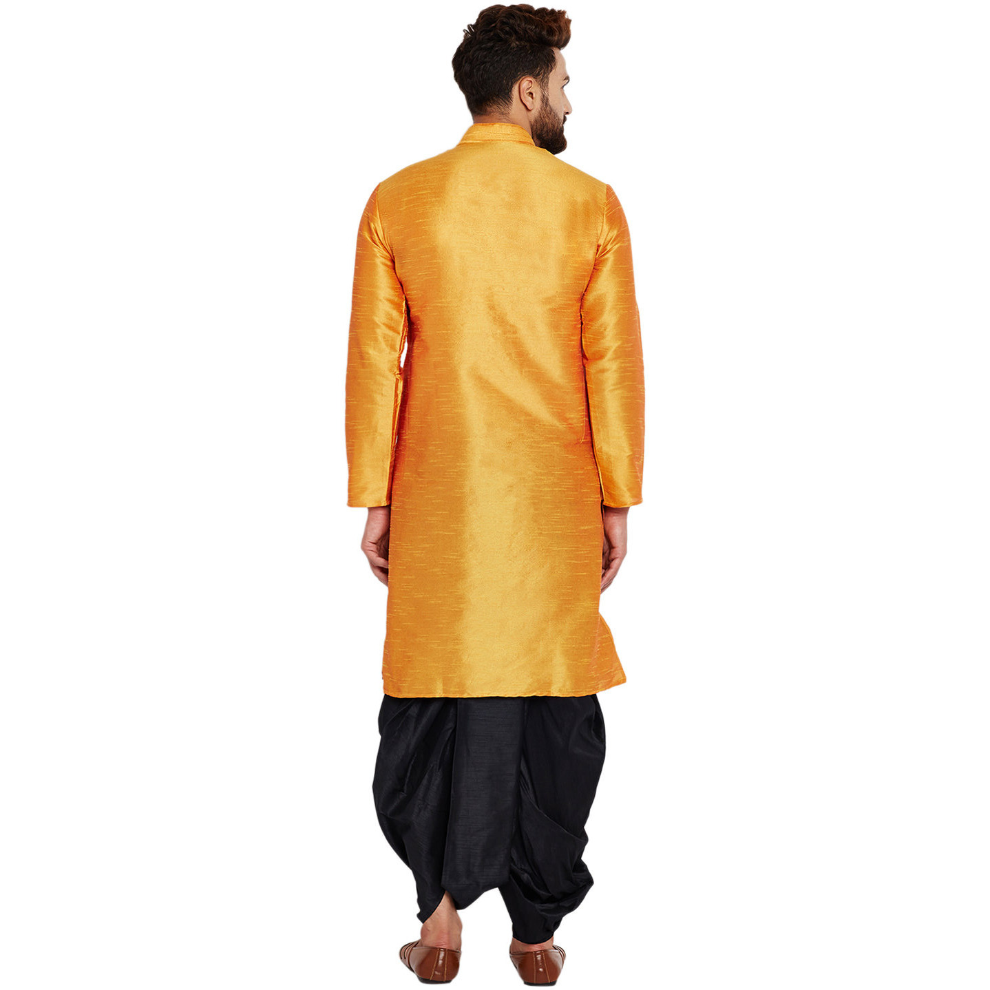 Sojanya (Since 1958)B Men's Traditional Ethnic Wear Dupion Silk Mustard and BlackThread embroidery Dhoti Kurta Set Regular Fit