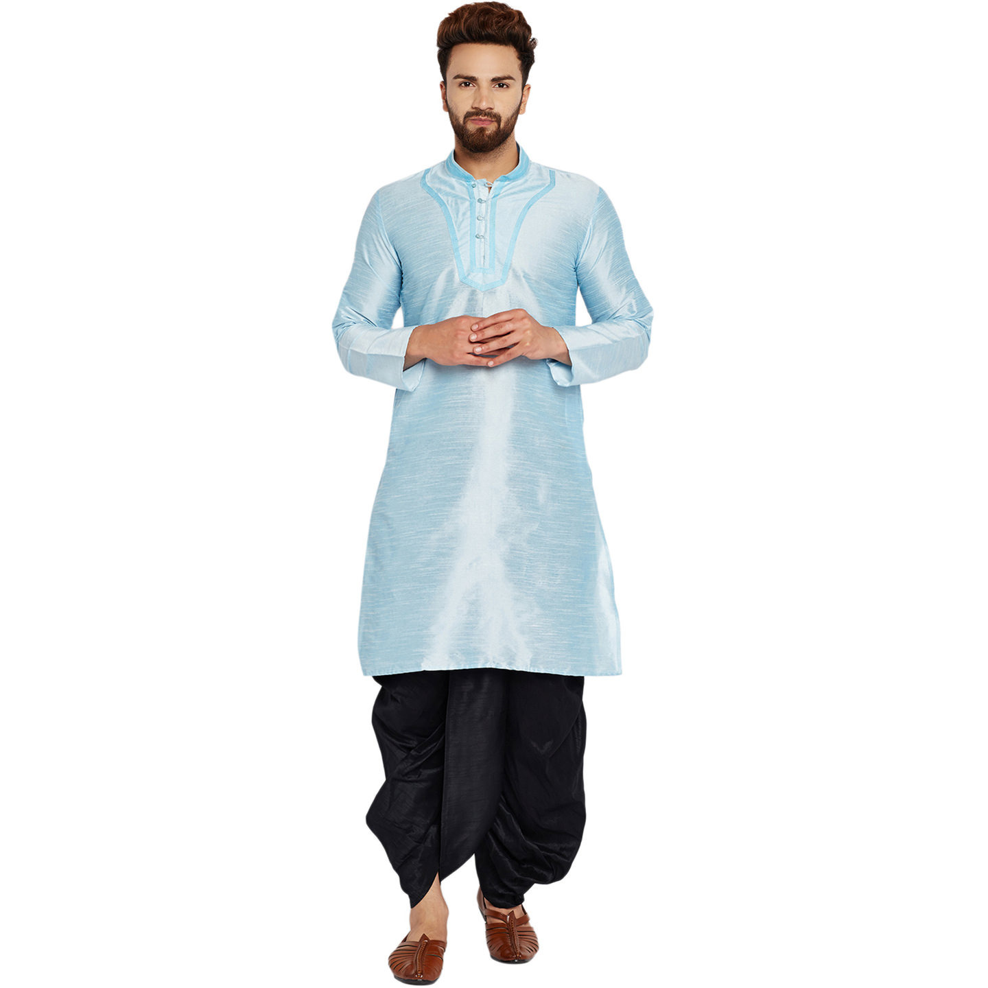 Sojanya (Since 1958)B Men's Traditional Ethnic Wear Dupion Silk Aqua Blue and BlackThread embroidery Dhoti Kurta Set Regular Fit