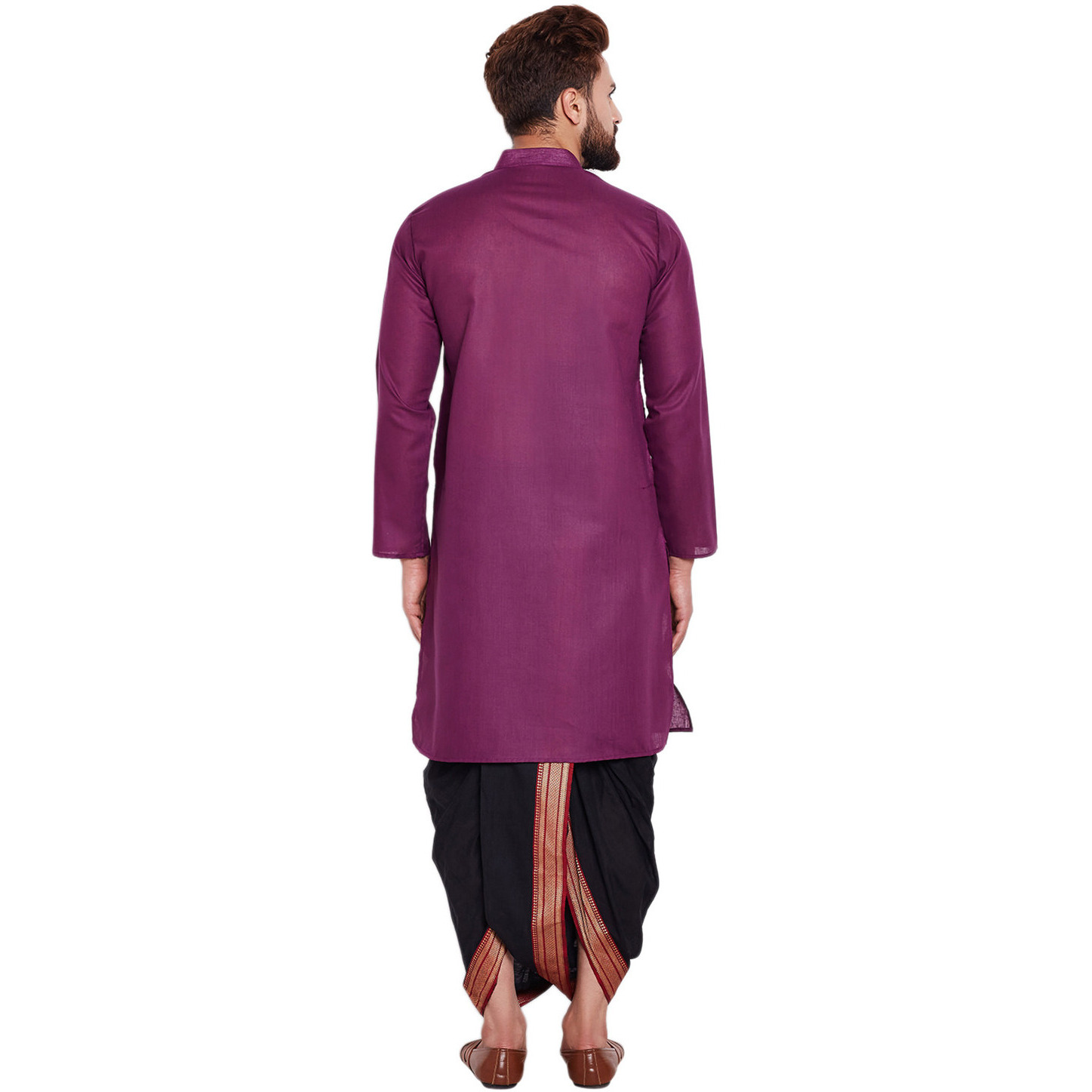 Sojanya (Since 1958)B Men's Traditional Ethnic Wear Cotton Purple and Black Plain DhotiKurta Set Regular Fit