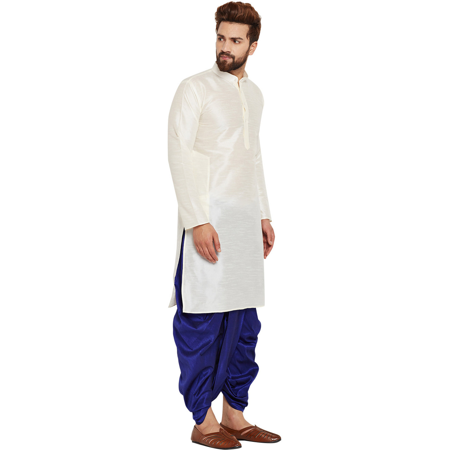 Sojanya (Since 1958)B Men's Traditional Ethnic Wear Dupion Silk Grey and Mustard Plain DhotiKurta Set Regular Fit