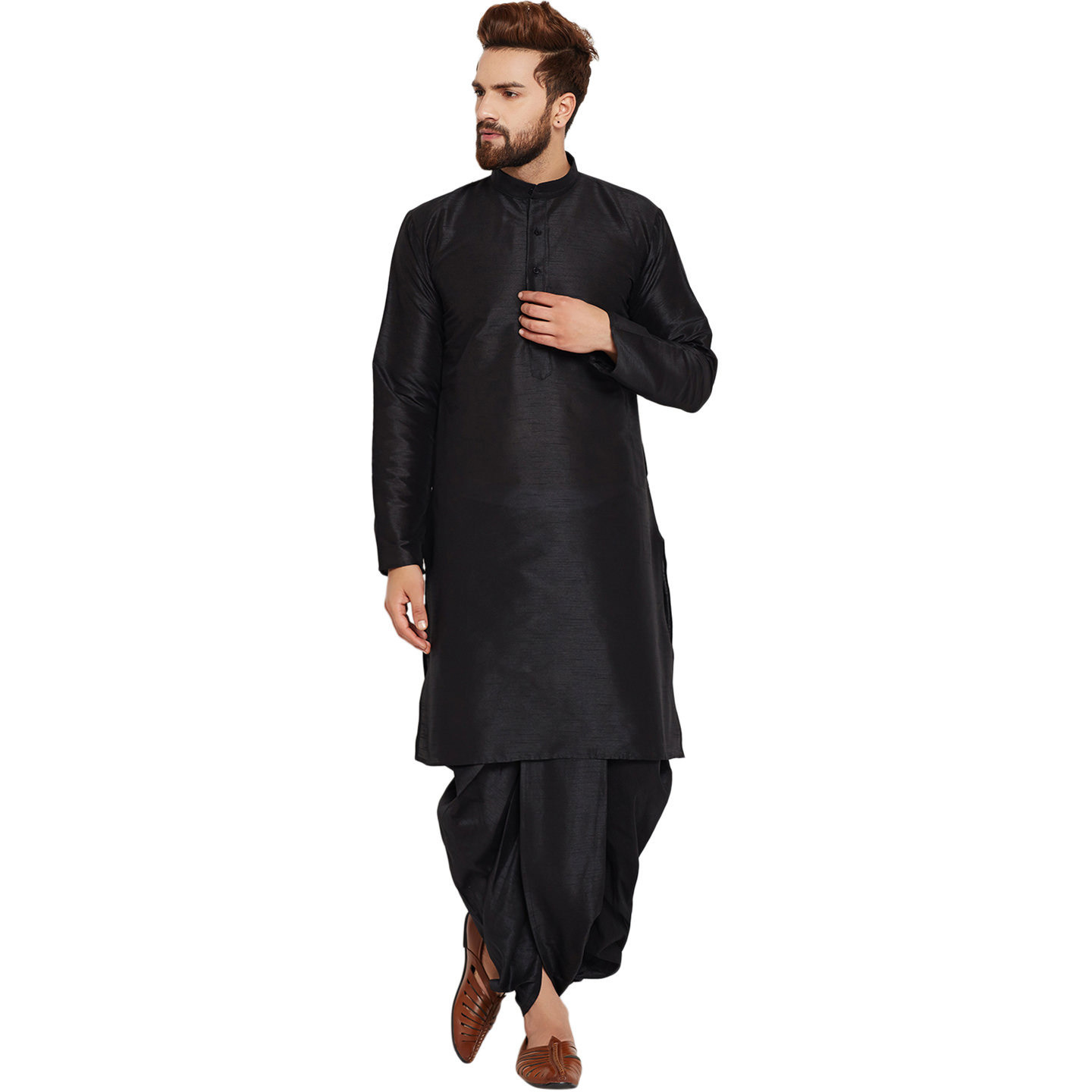 Men's Traditional Ethnic Wear Dupion Silk Black and Gold Plain DhotiKurta Set Regular Fit