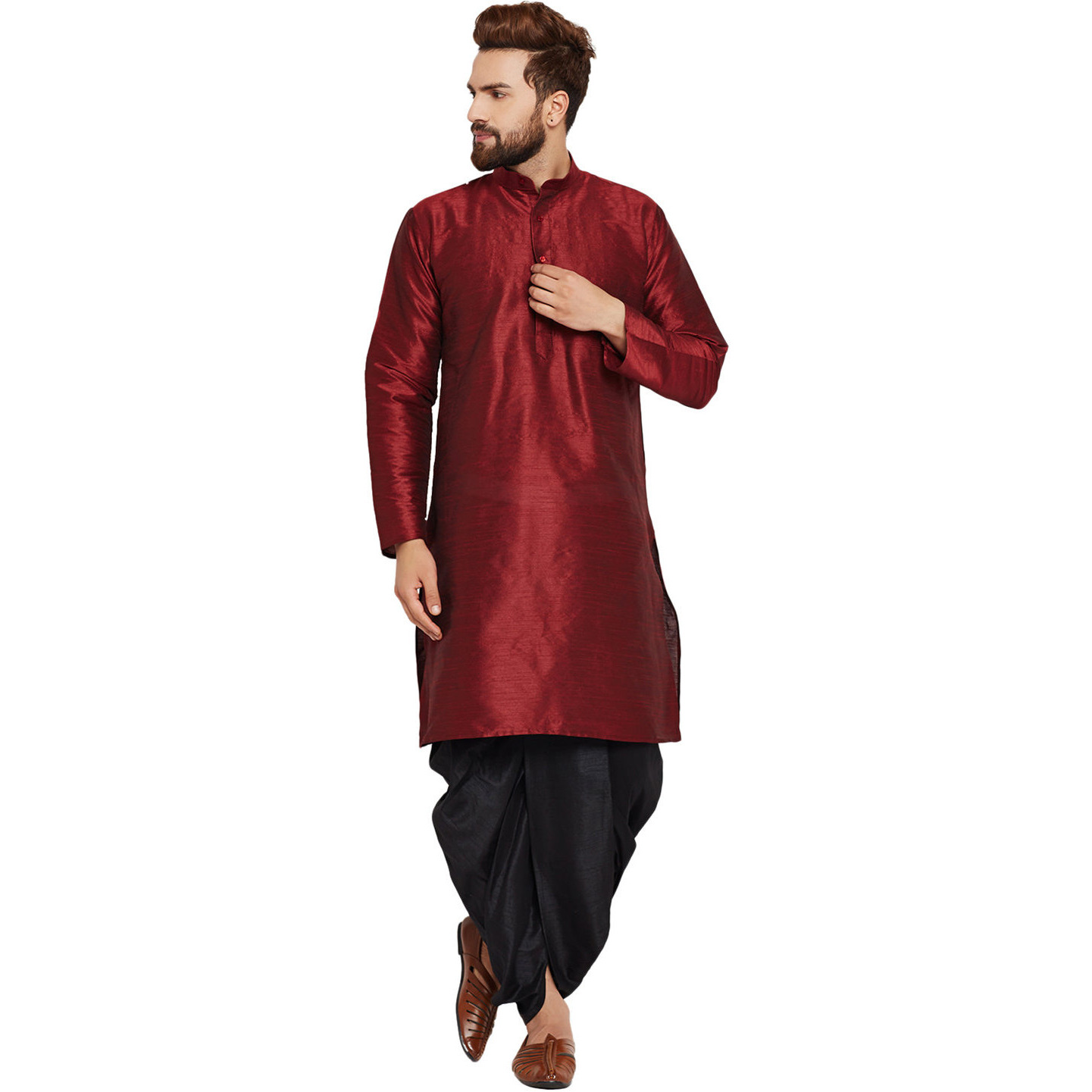 Sojanya (Since 1958)B Men's Traditional Ethnic Wear Dupion Silk Maroon Plain DhotiKurta Set Regular Fit