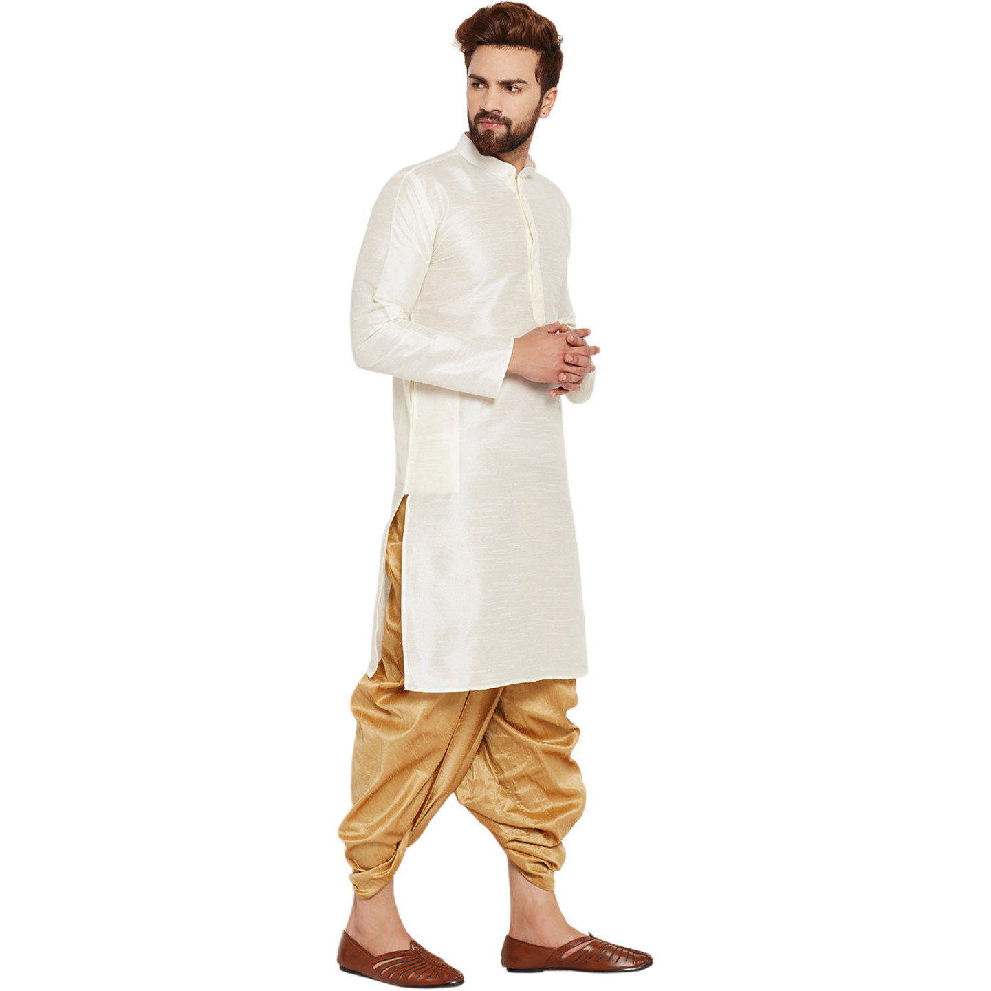 Sojanya (Since 1958)B Men's Traditional Ethnic Wear Dupion Silk Off-White and Gold Plain DhotiKurta Set Regular Fit