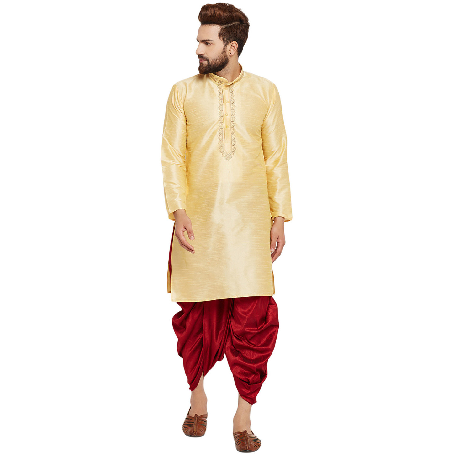 a98c0e04e6 Buy Online Sojanya (Since 1958)B Men s Traditional Ethnic Wear Dupion Silk  Gold and Royal Blue Embroidery Dhoti Kurta Set Regular Fit from USA -  Zifiti.com ...