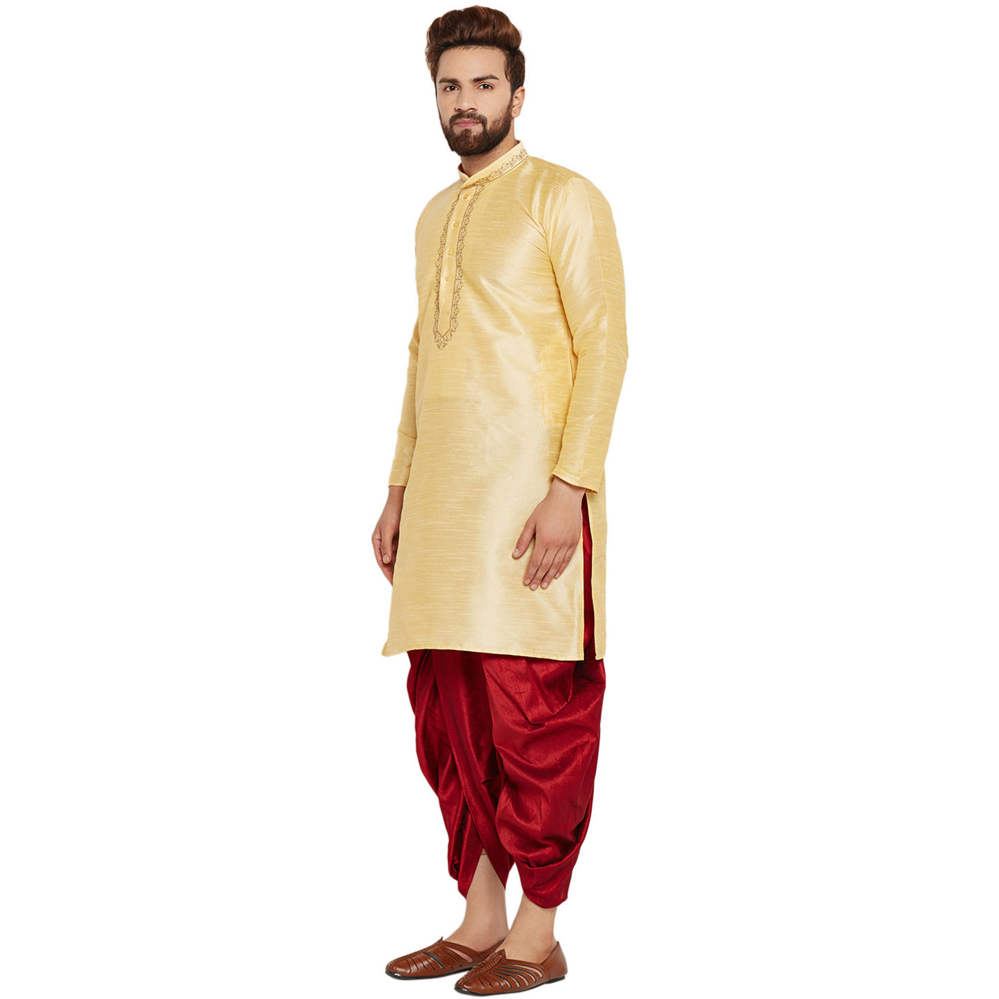 Sojanya (Since 1958)B Men's Traditional Ethnic Wear Dupion Silk Gold and Royal Blue Embroidery Dhoti Kurta Set Regular Fit