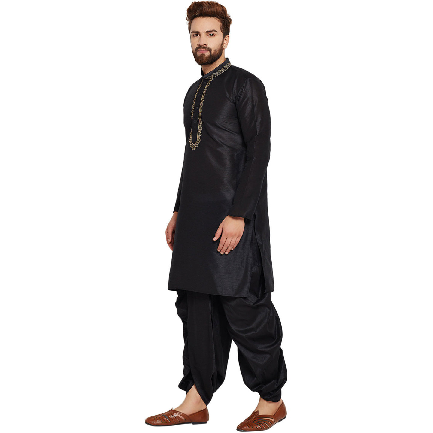 Sojanya (Since 1958)B Men's Traditional Ethnic Wear Dupion Silk Black and Gold Embroidery Dhoti Kurta Set Regular Fit