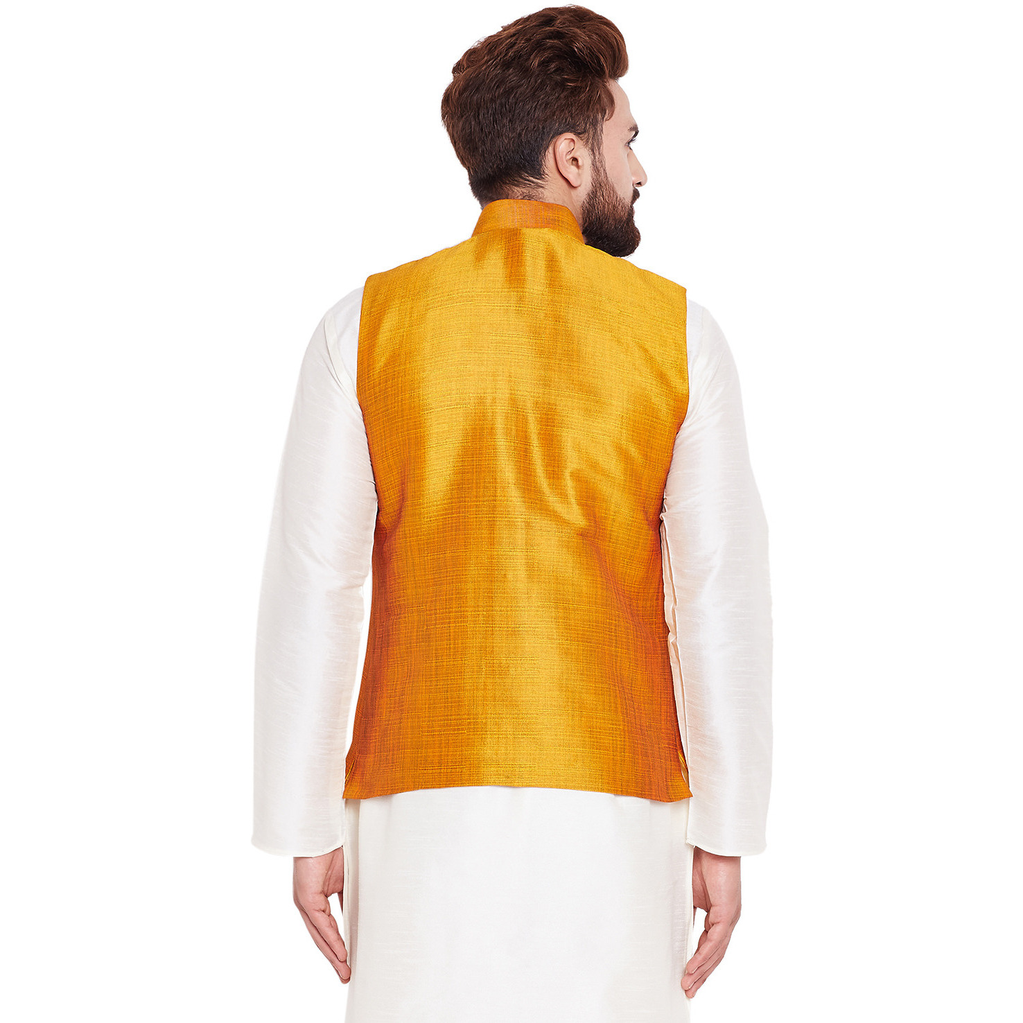 Sojanya (Since 1958)B Mens Traditional Ethnic Wear Dupion silk Mustard Nehru Jacket Regular Fit Waistcoat