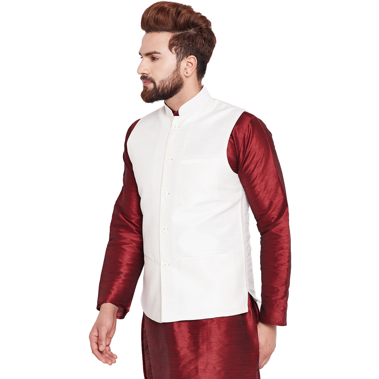 Sojanya (Since 1958)B Mens Traditional Ethnic Wear Dupion silk Cream Nehru Jacket Regular Fit Waistcoat
