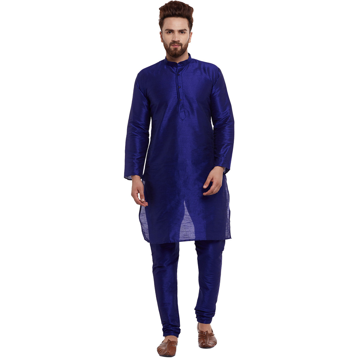 Sojanya (Since 1958)Mens Classic Dupion Silk Royal blue Solid Designer Kurta Churidaar Set Long Sleeve Ban collar Regular Fit