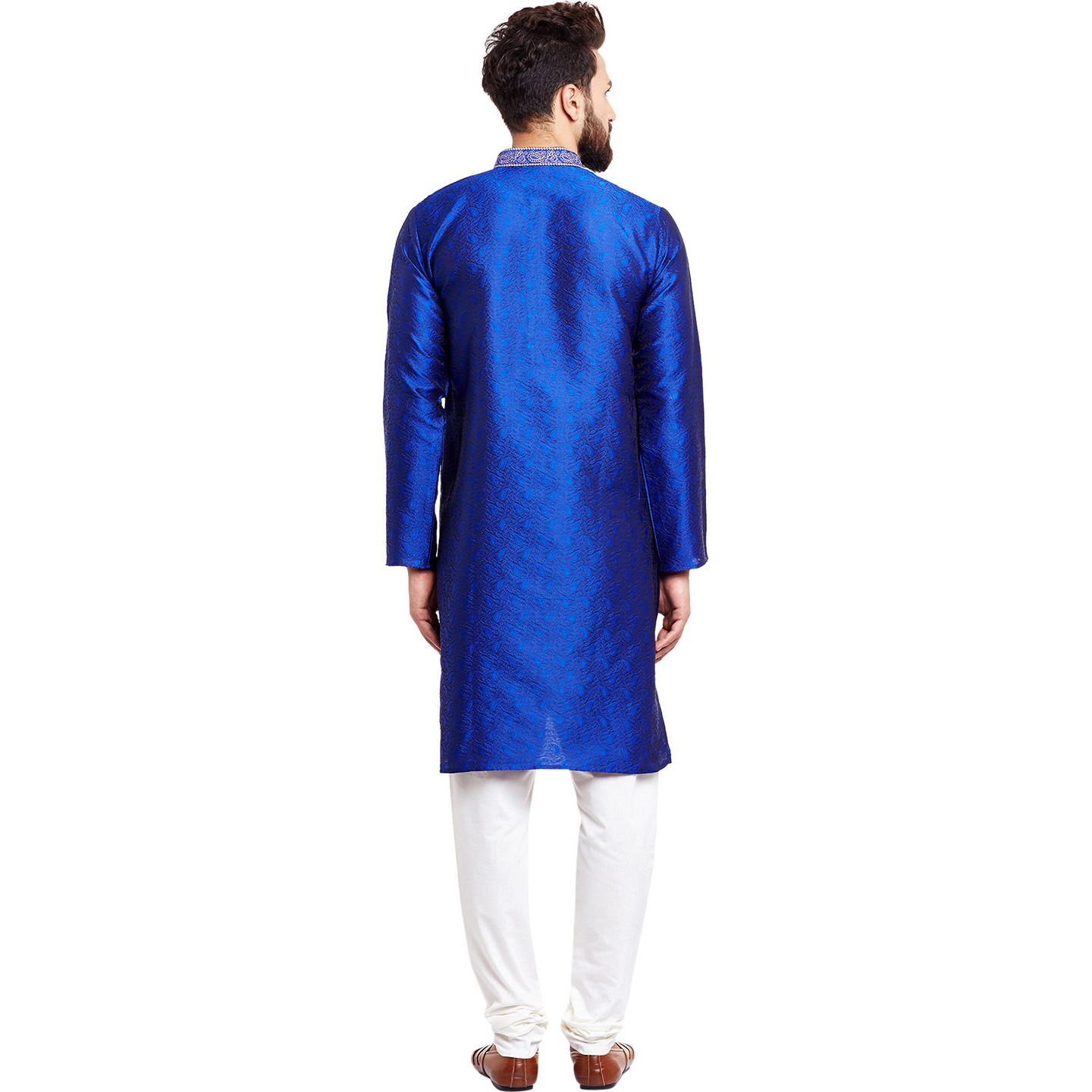 Mens Silk Royal Blue Self design pattern Designer Kurta Churidaar Set Long Sleeve Ban collar Regular Fit