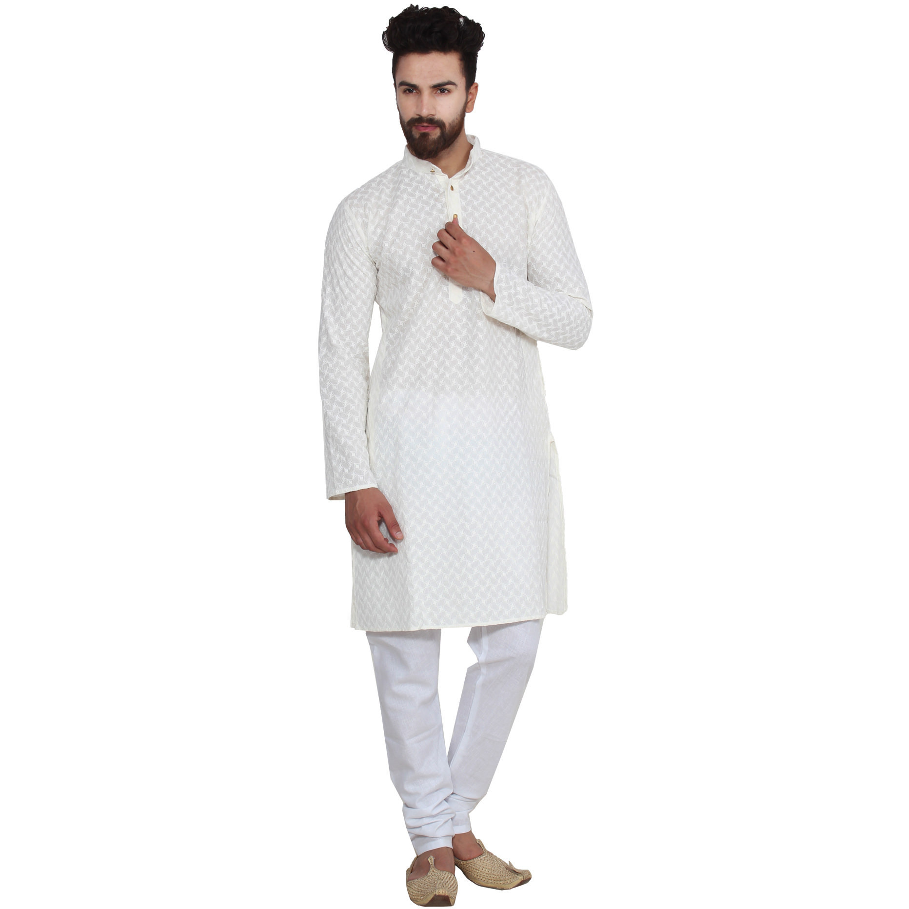 Mens Silk Cream Self design emroidery Designer Kurta Churidaar Set Long Sleeve Ban collar Regular Fit