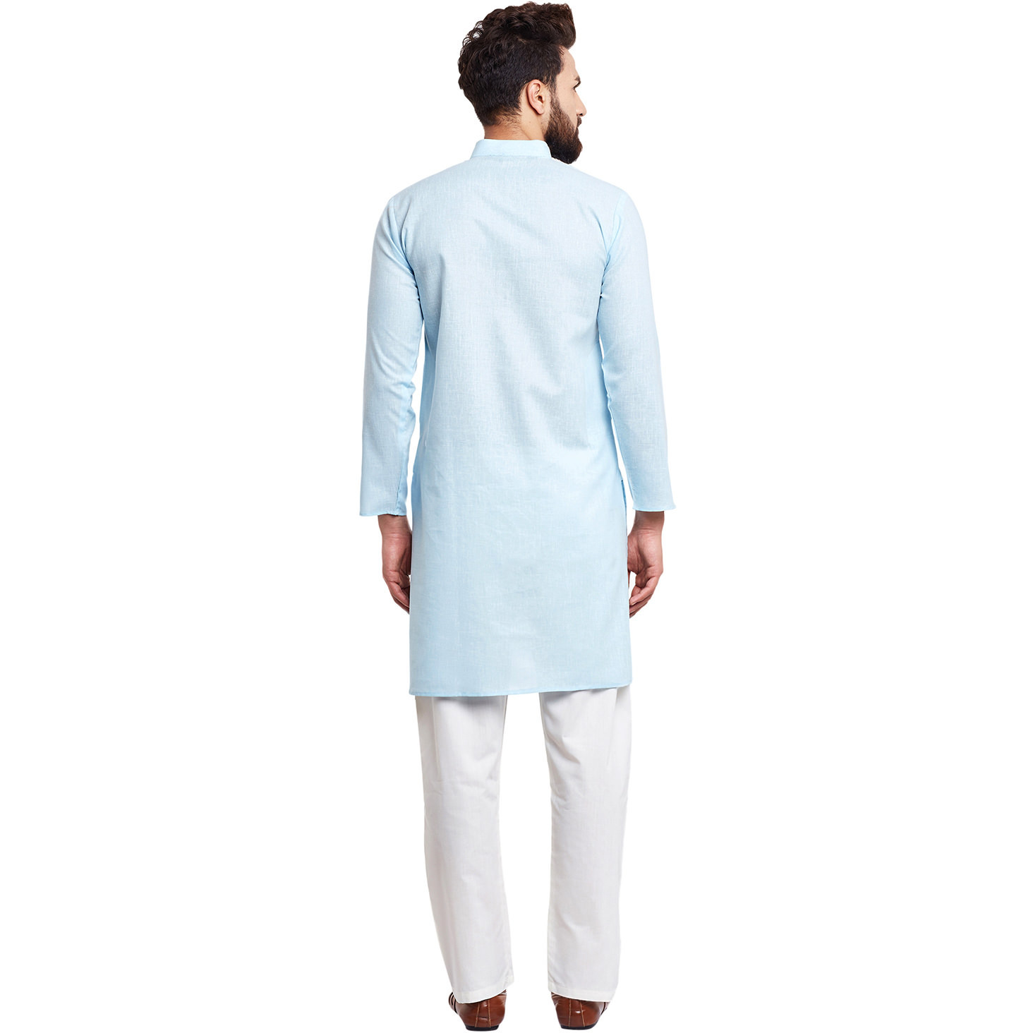 Mens Silk Sky Blue Solid Designer Kurta Churidaar Set Long Sleeve Ban collar Regular Fit