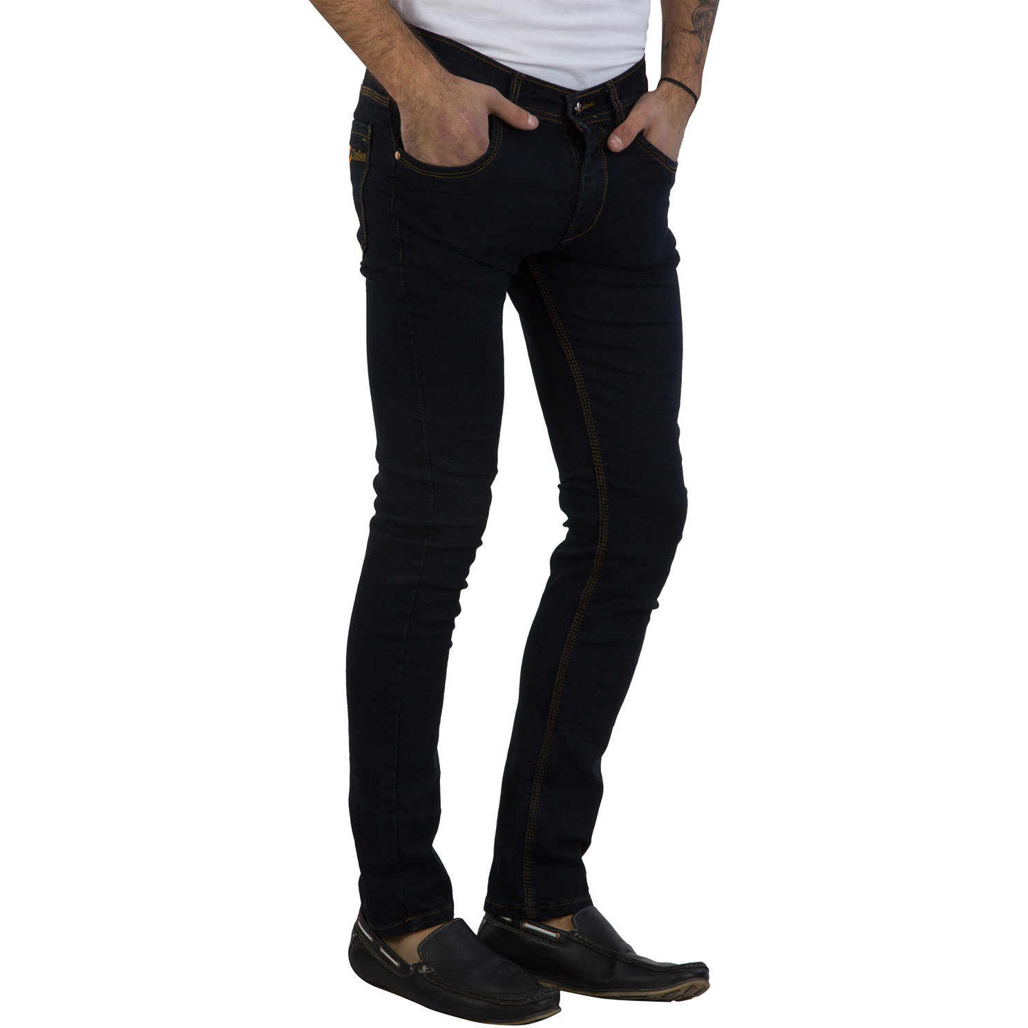 Mens Black Casual Jeans Slim Fit Stylish Denim