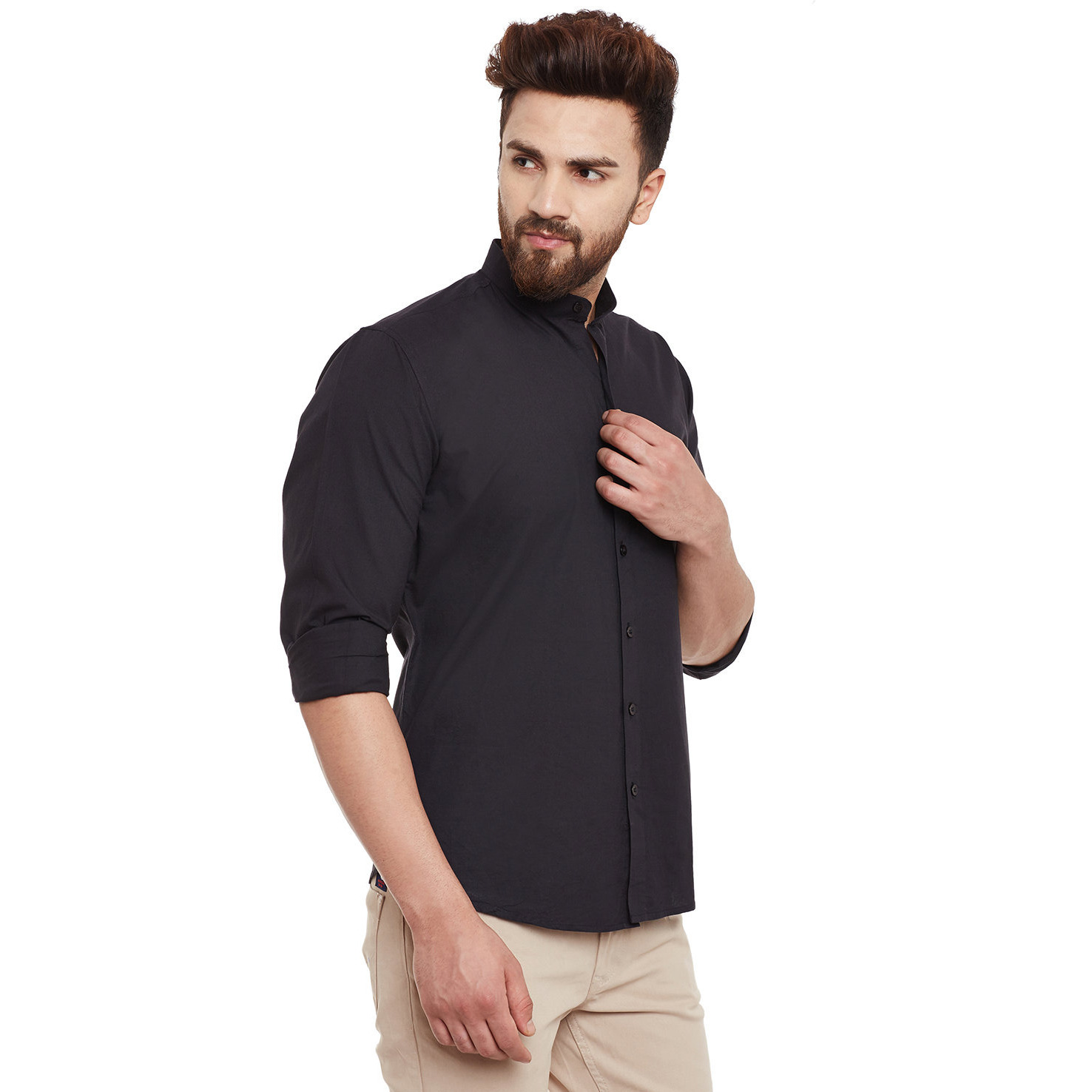 Mens Black Cotton Shirt Regular Fit Full sleeve Banded Collar